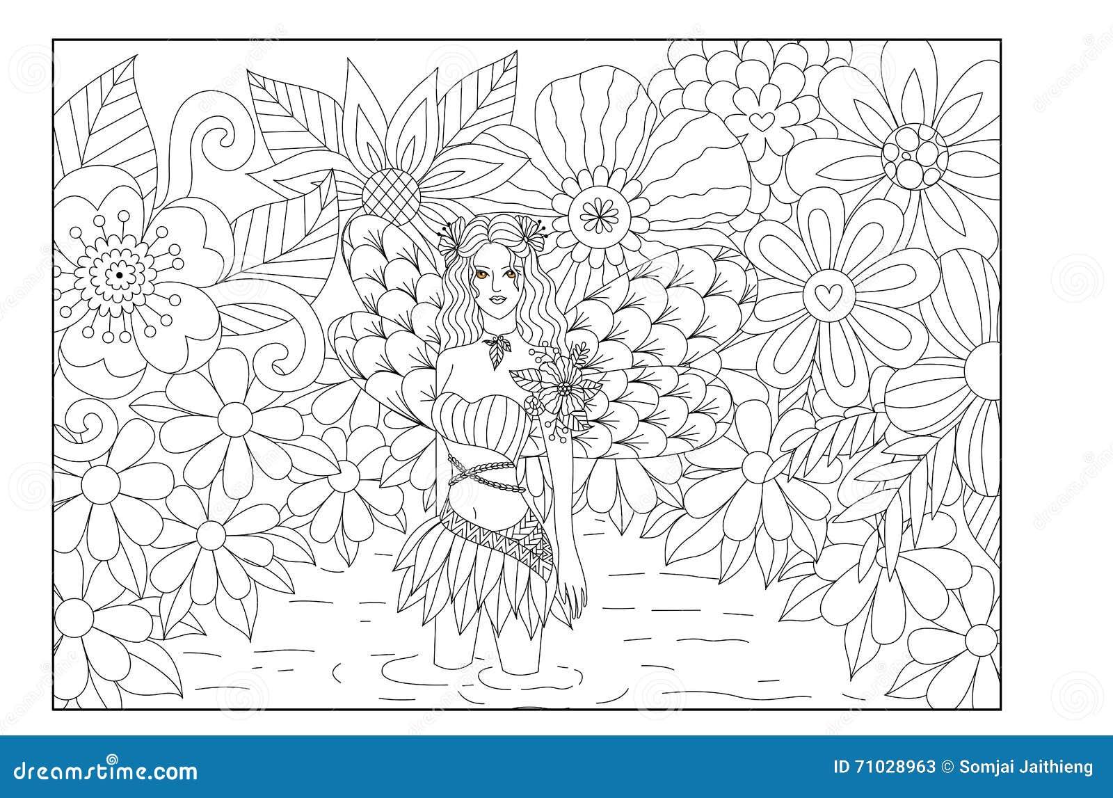 Fée Dans étang Conception De Schéma Pour Livre De Coloriage Pour L