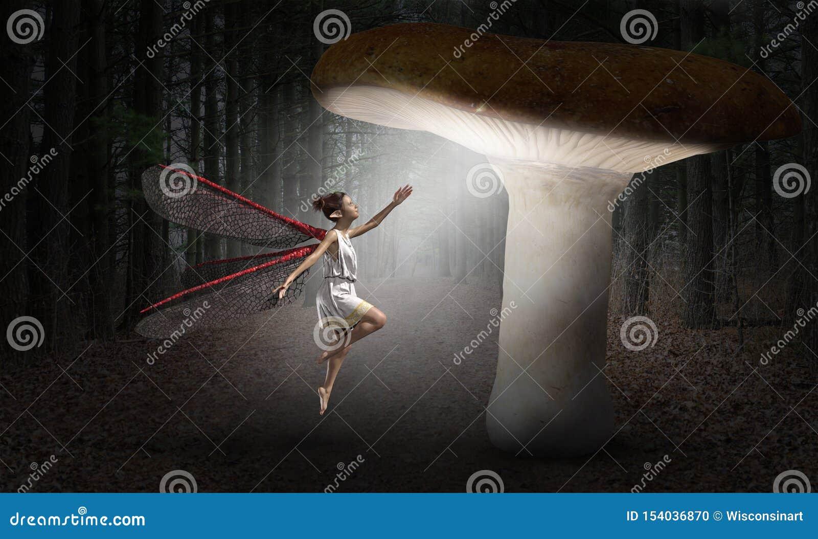 Fée surréaliste, forêt, imagination, imagination