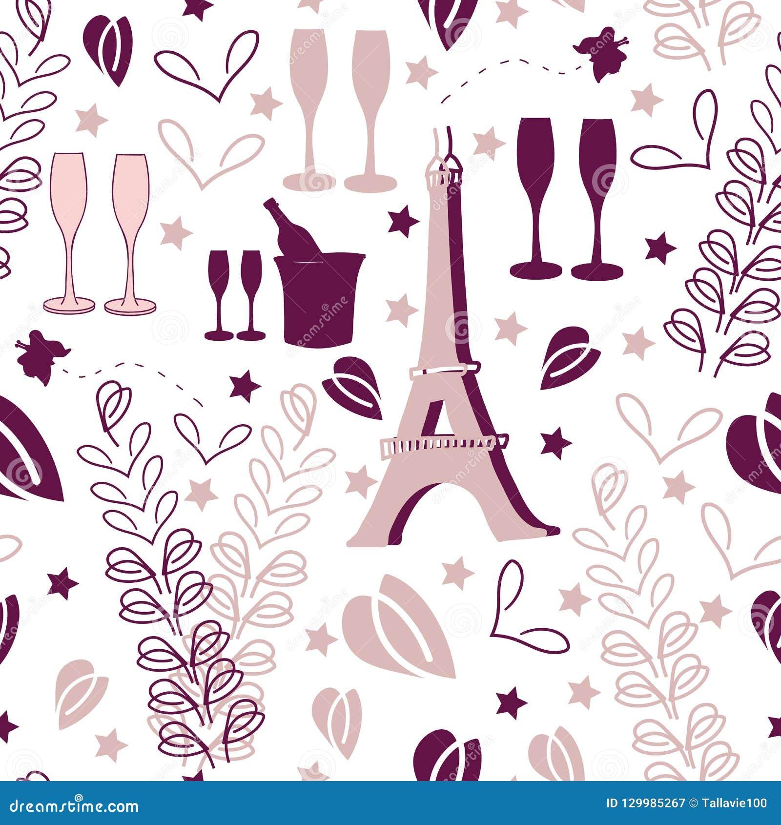 Férias-amor romântico em Parise Seamless Repeat Pattern Background