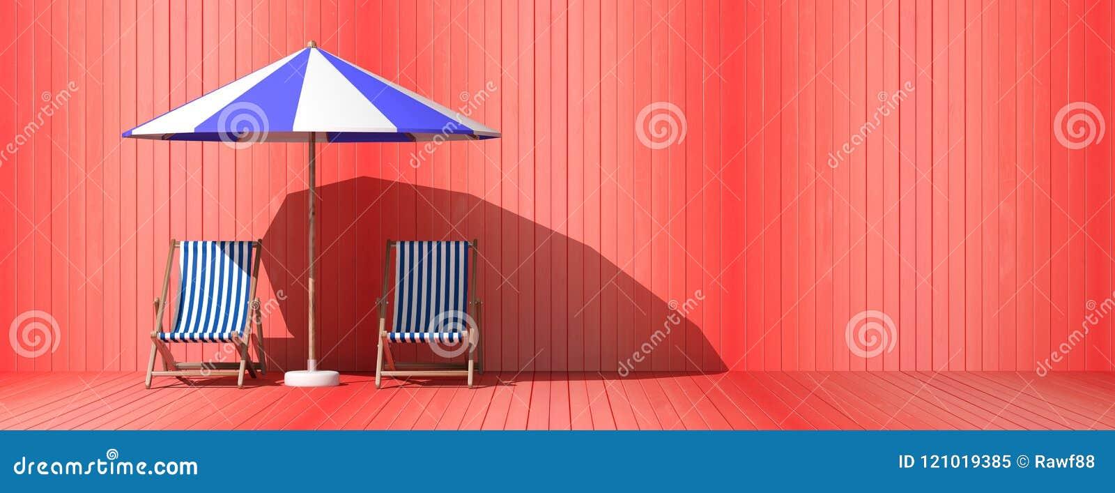Férias de verão Cadeiras e guarda-chuva de praia no fundo de madeira da parede, bandeira ilustração 3D