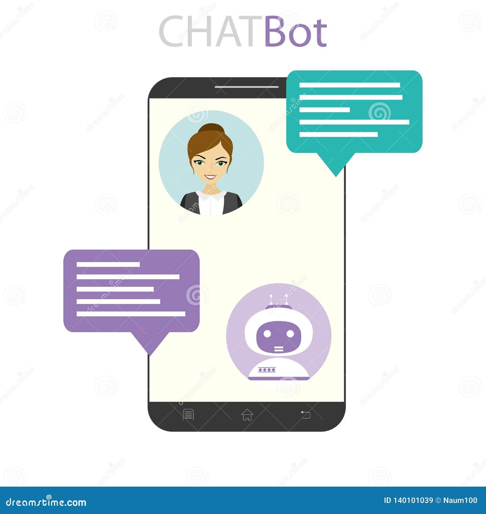 Fêmea e chatbot na tela do telefone celular