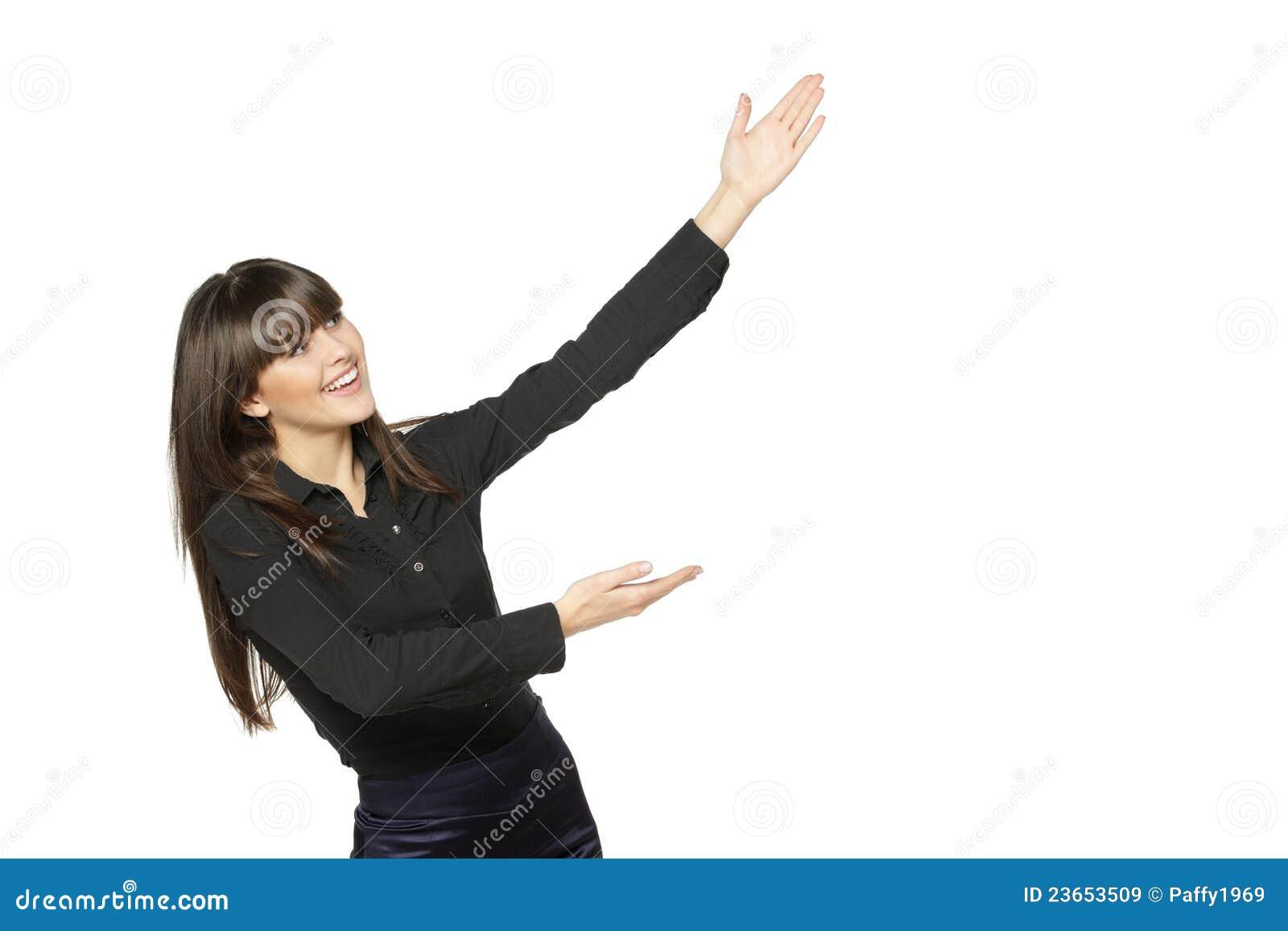 Fêmea Excited que mostra o espaço em branco