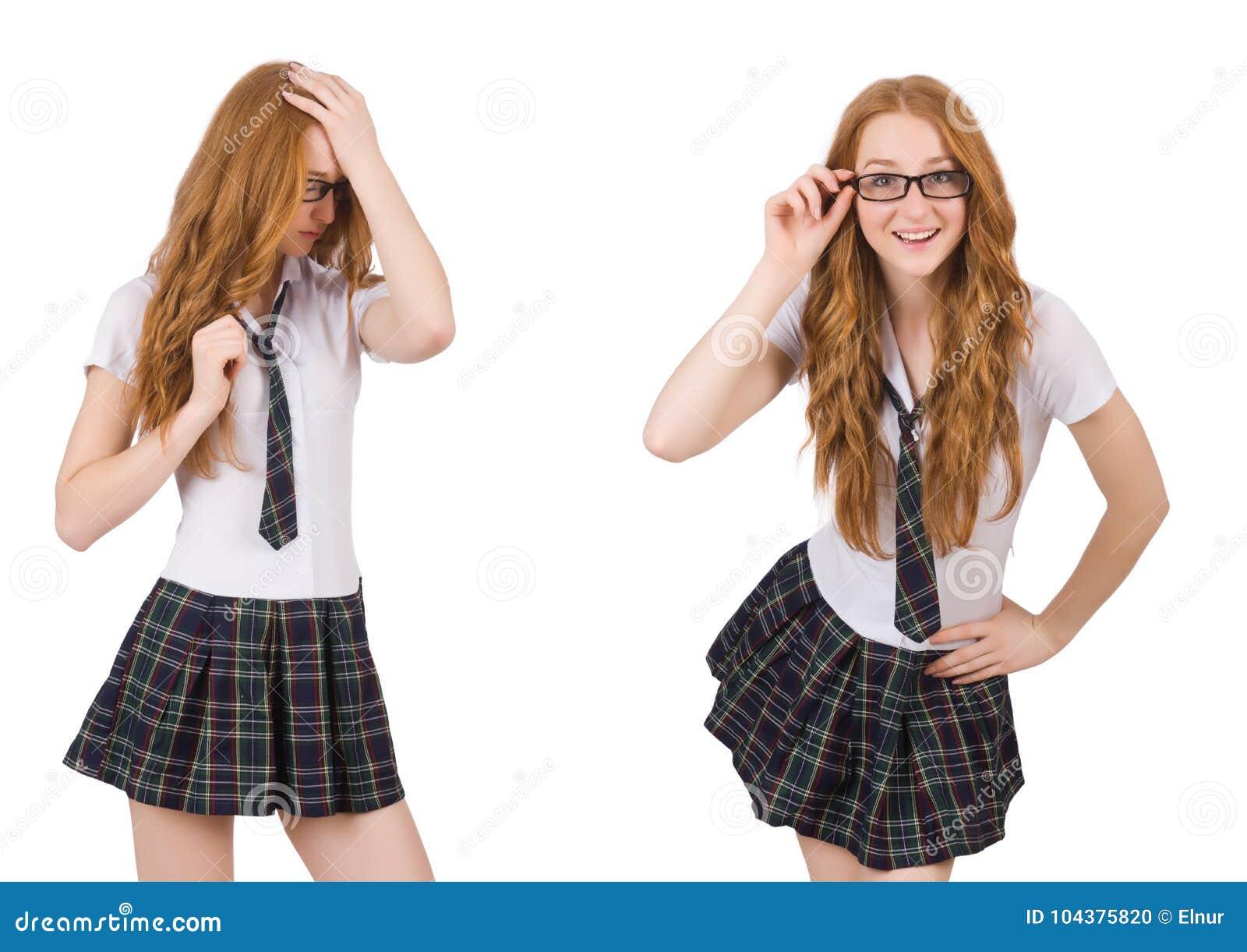 A fêmea nova do estudante isolada no branco