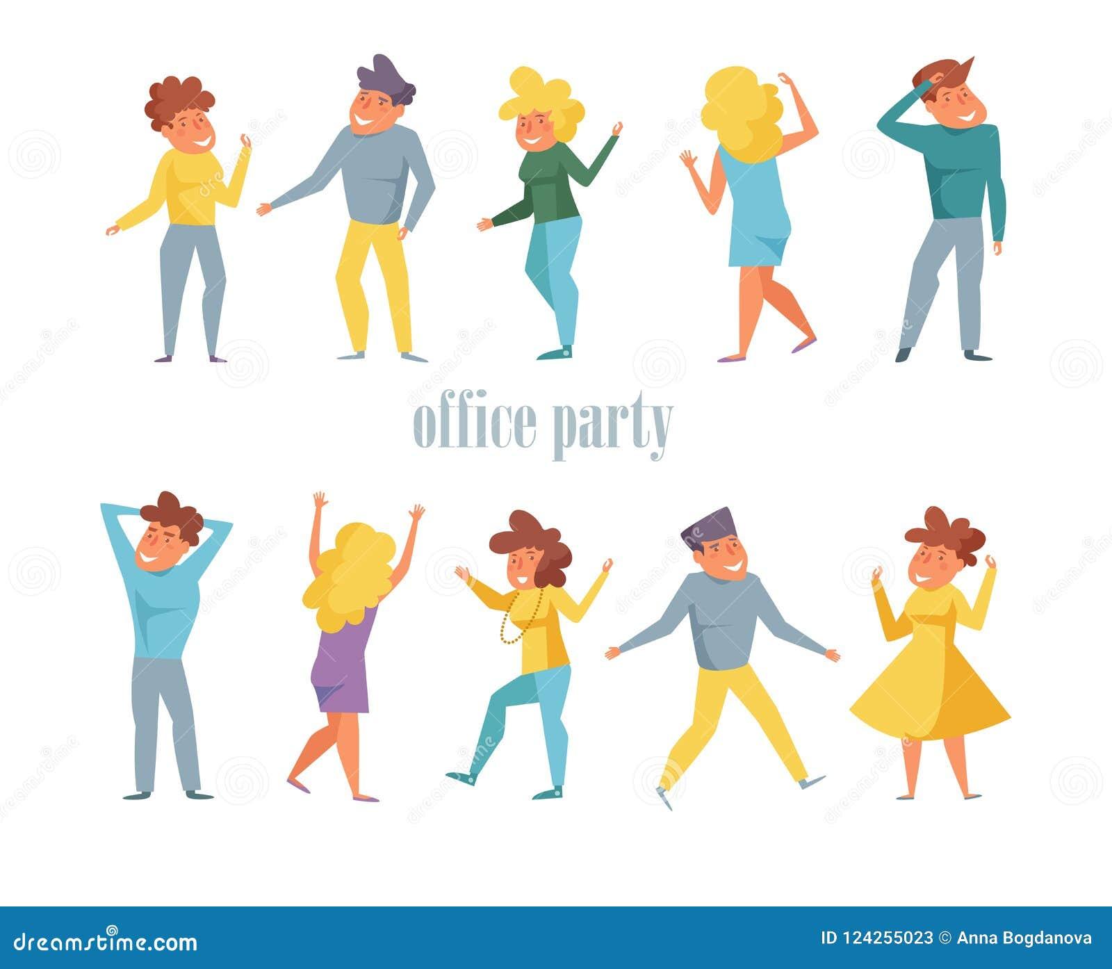 Fête au bureau réglée avec le vecteur de personnes de danse cartoon Appartement d isolement d art