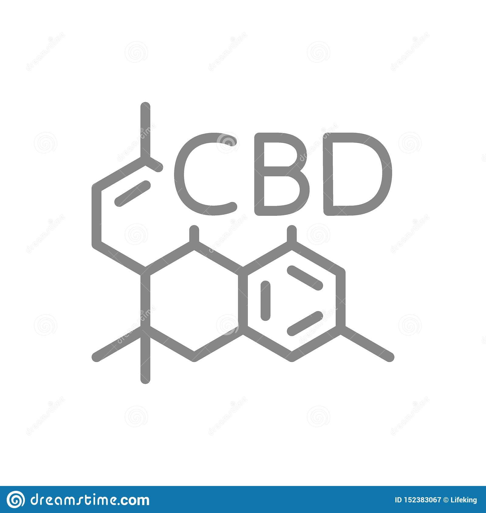 Fórmula molecular de CBD, línea icono de la estructura de la molécula del cannabidiol
