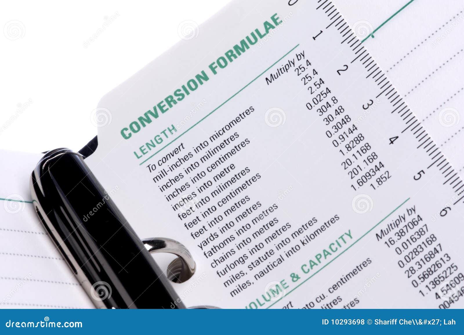 Fórmulas da conversão