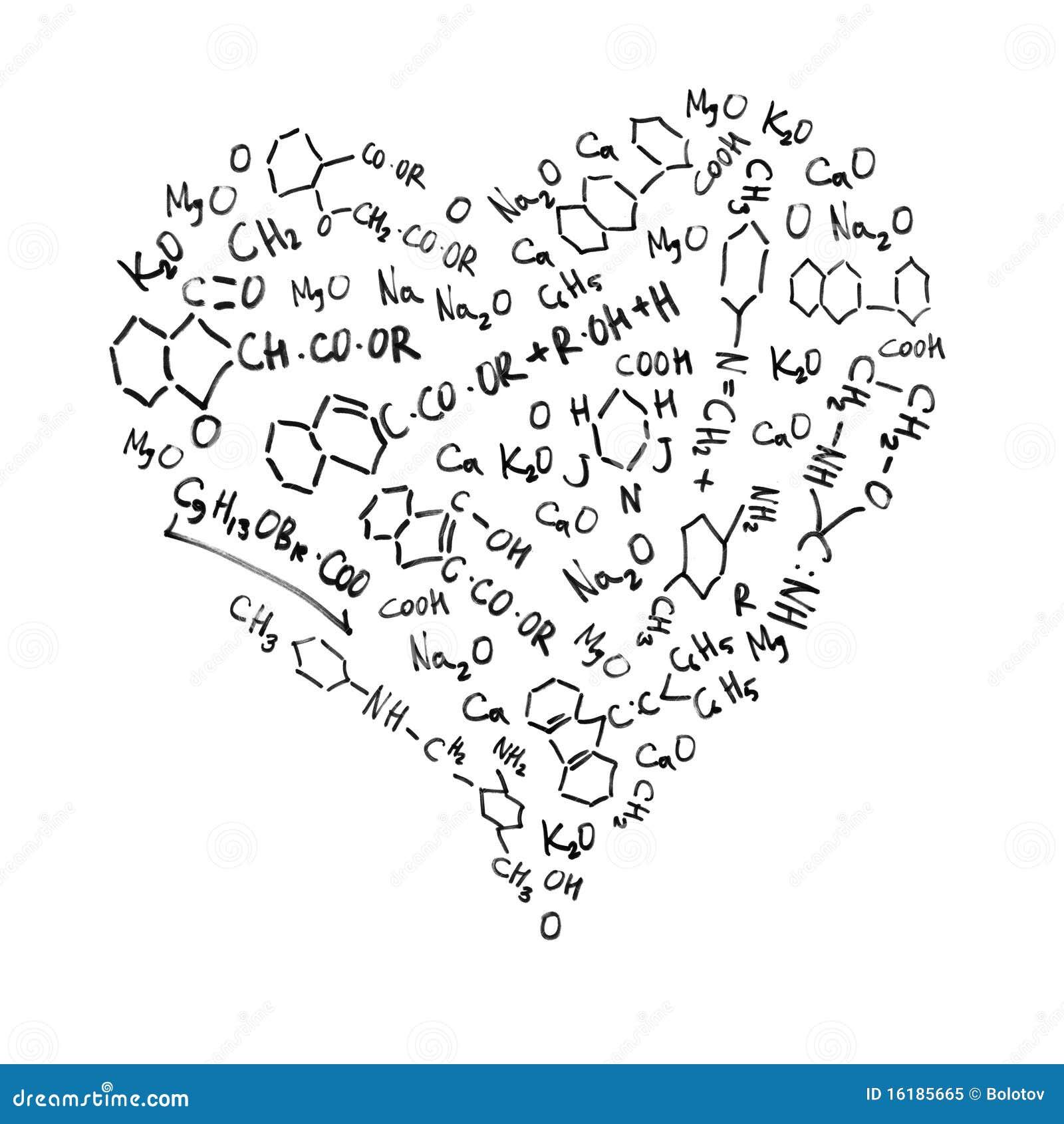 Fórmulas químicas en forma de corazón.