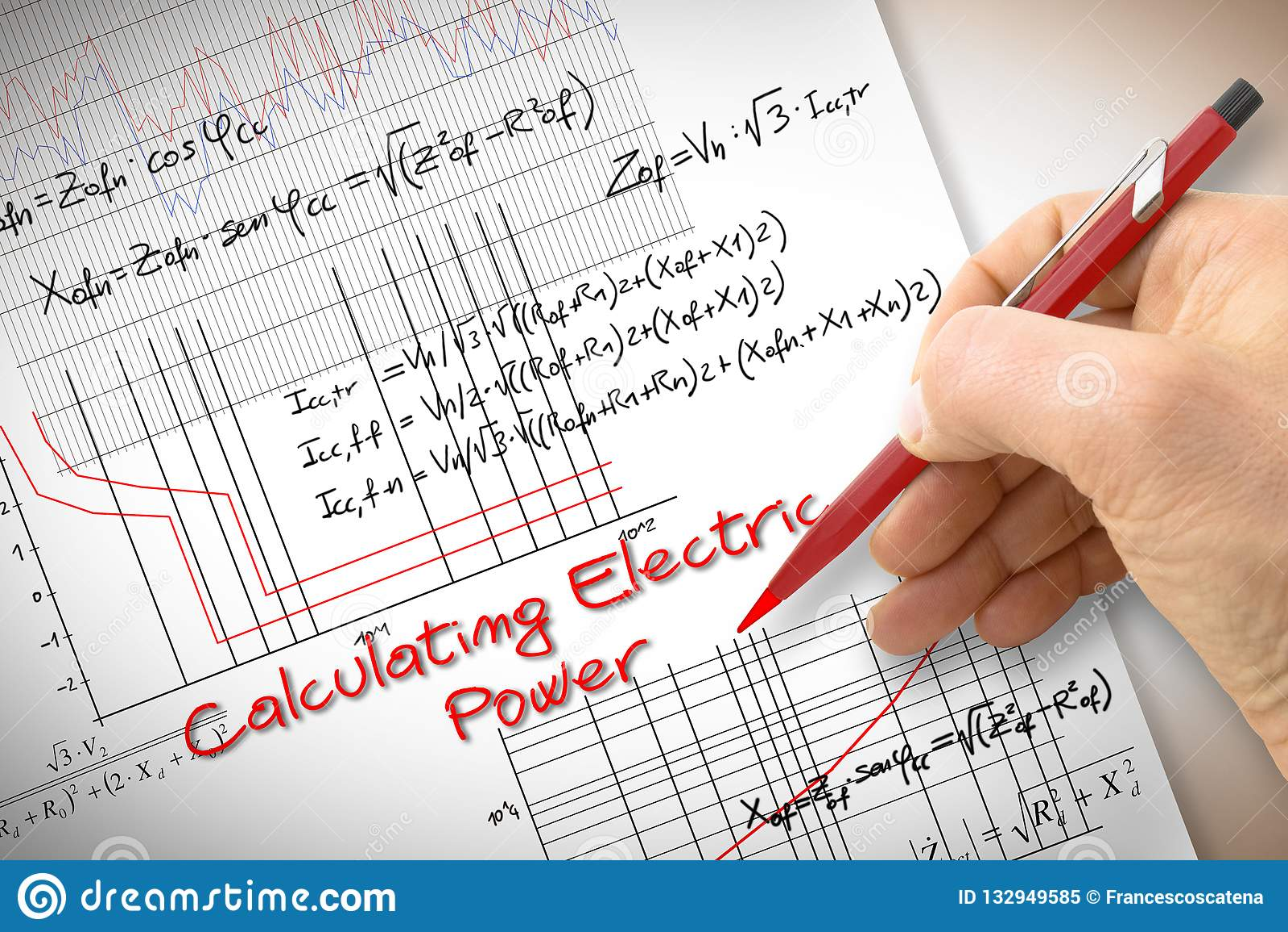 Fórmulas y gráfico de la escritura del ingeniero sobre energía eléctrica en buil