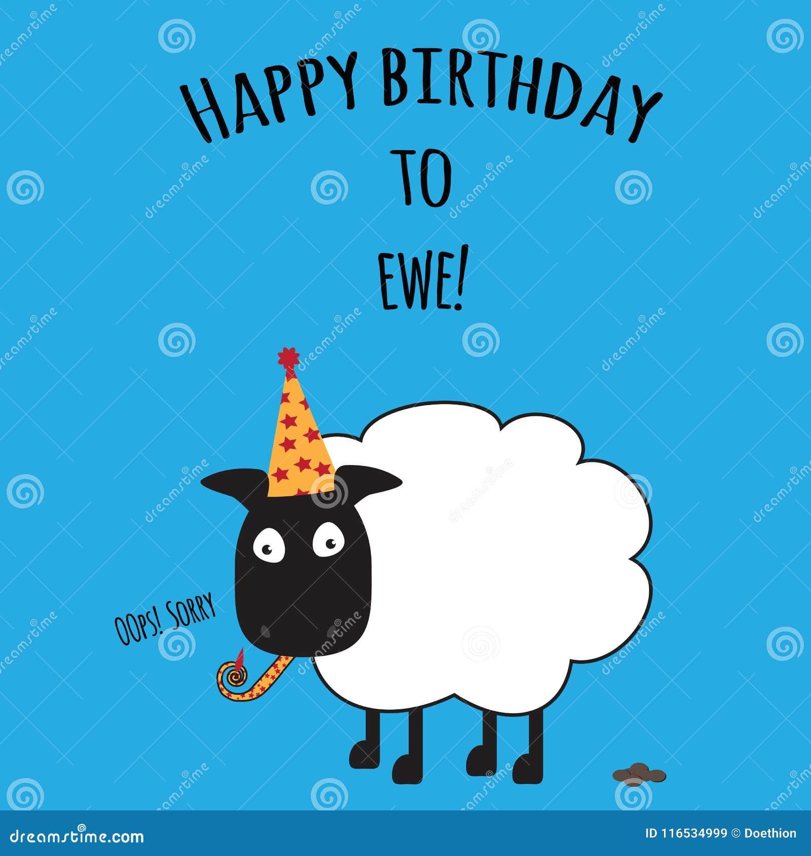 Födelsedagkortet med lycklig födelsedag till tackan med gulliga får avbildar