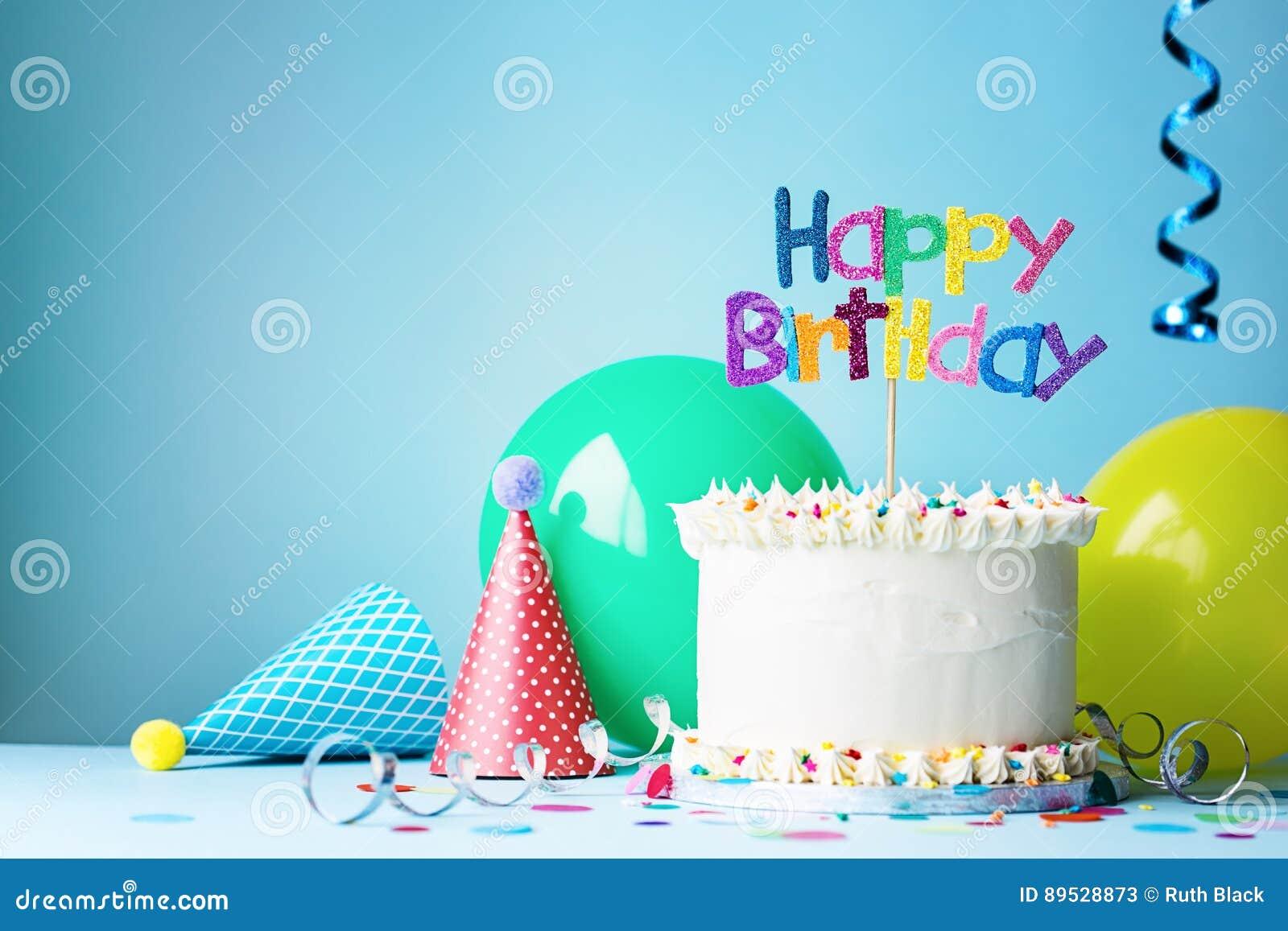 Födelsedagparti och kaka