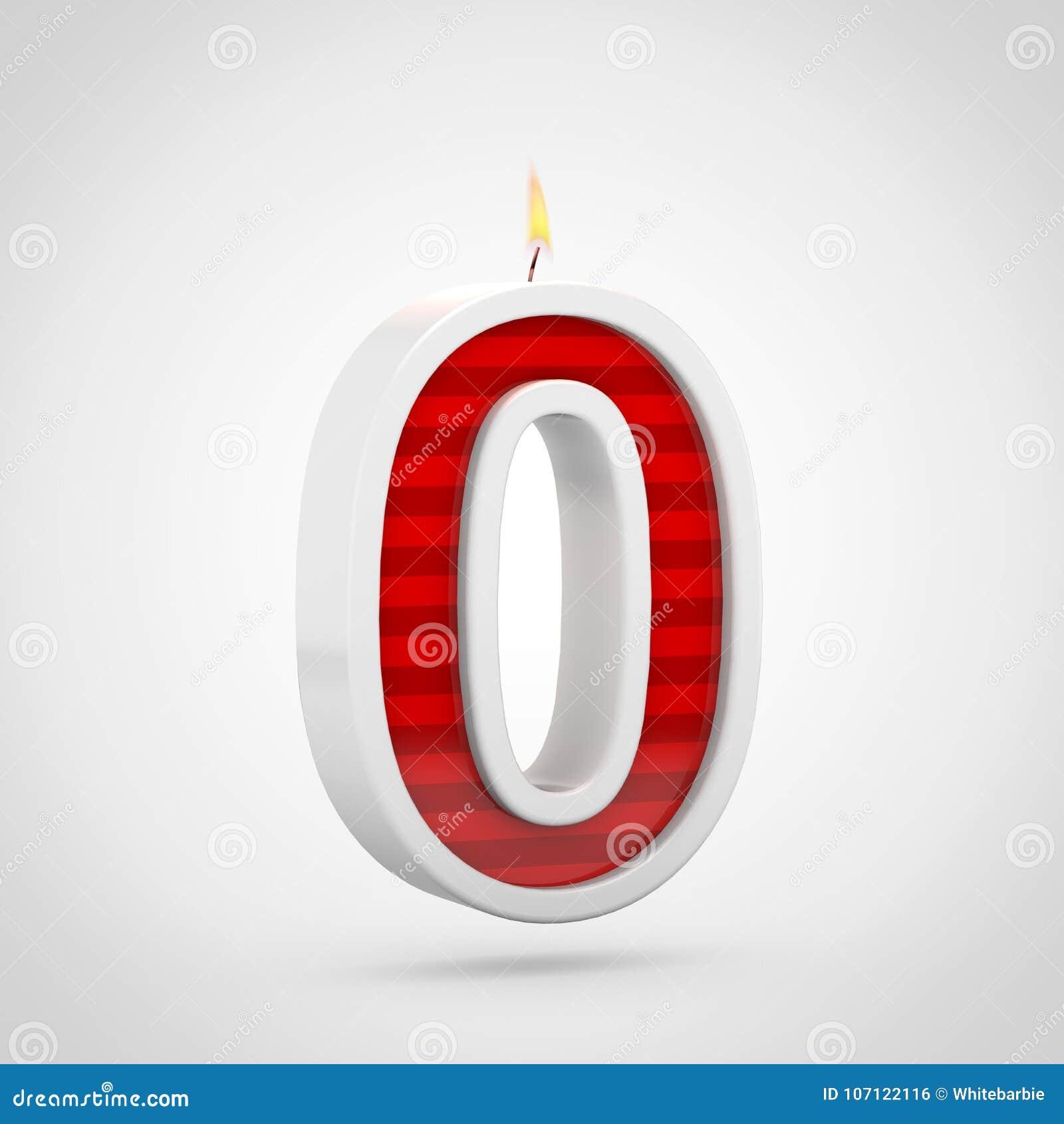 Födelsedagstearinljus nummer 0 som isoleras på vit bakgrund