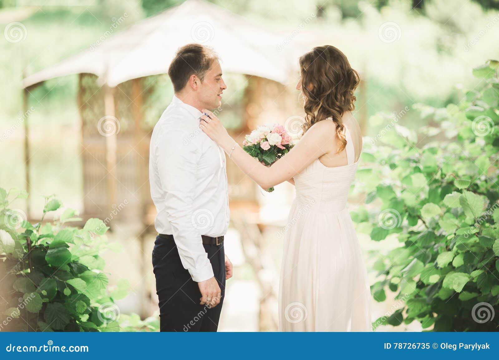 Förälskade älskvärda par kyssa sig på dagbröllopet som utomhus står i parkera nära sjön