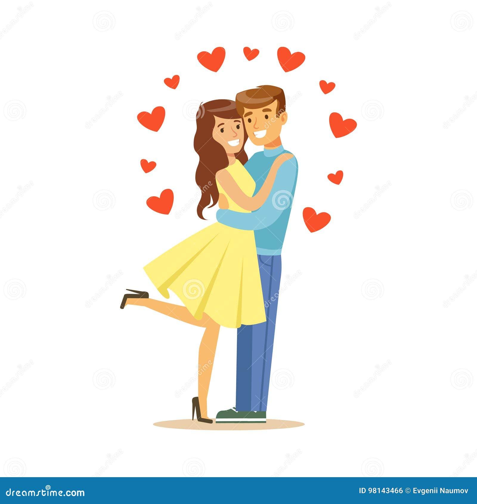 Förälskade lyckliga par, man och kvinna som omfamnar sig, för teckenvektor för romantiskt datum färgrik illustration