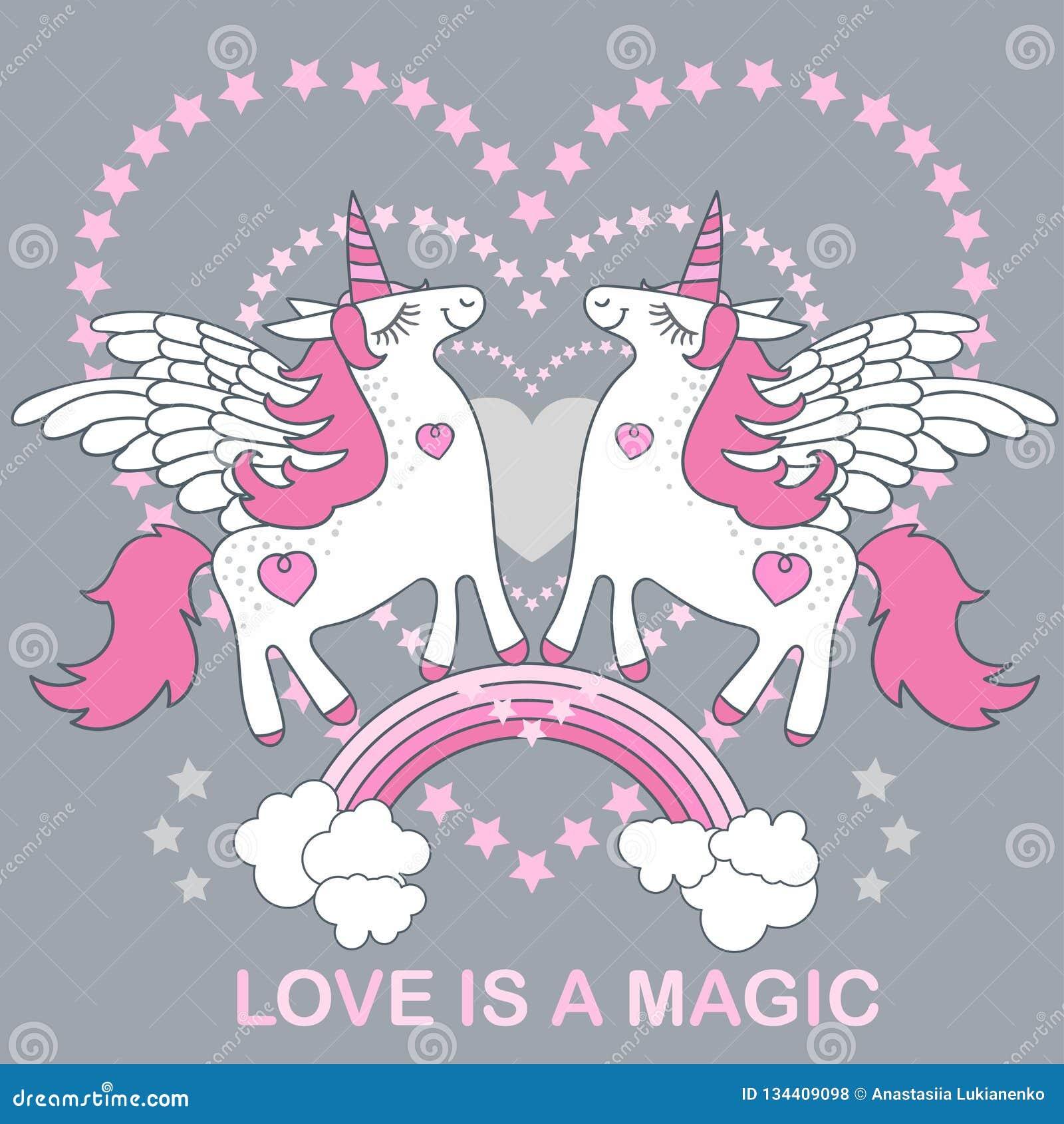 Förälskelse är magisk Ett stiligt, gulligt, vit enhörning för tecknad film på en grå bakgrund vektor