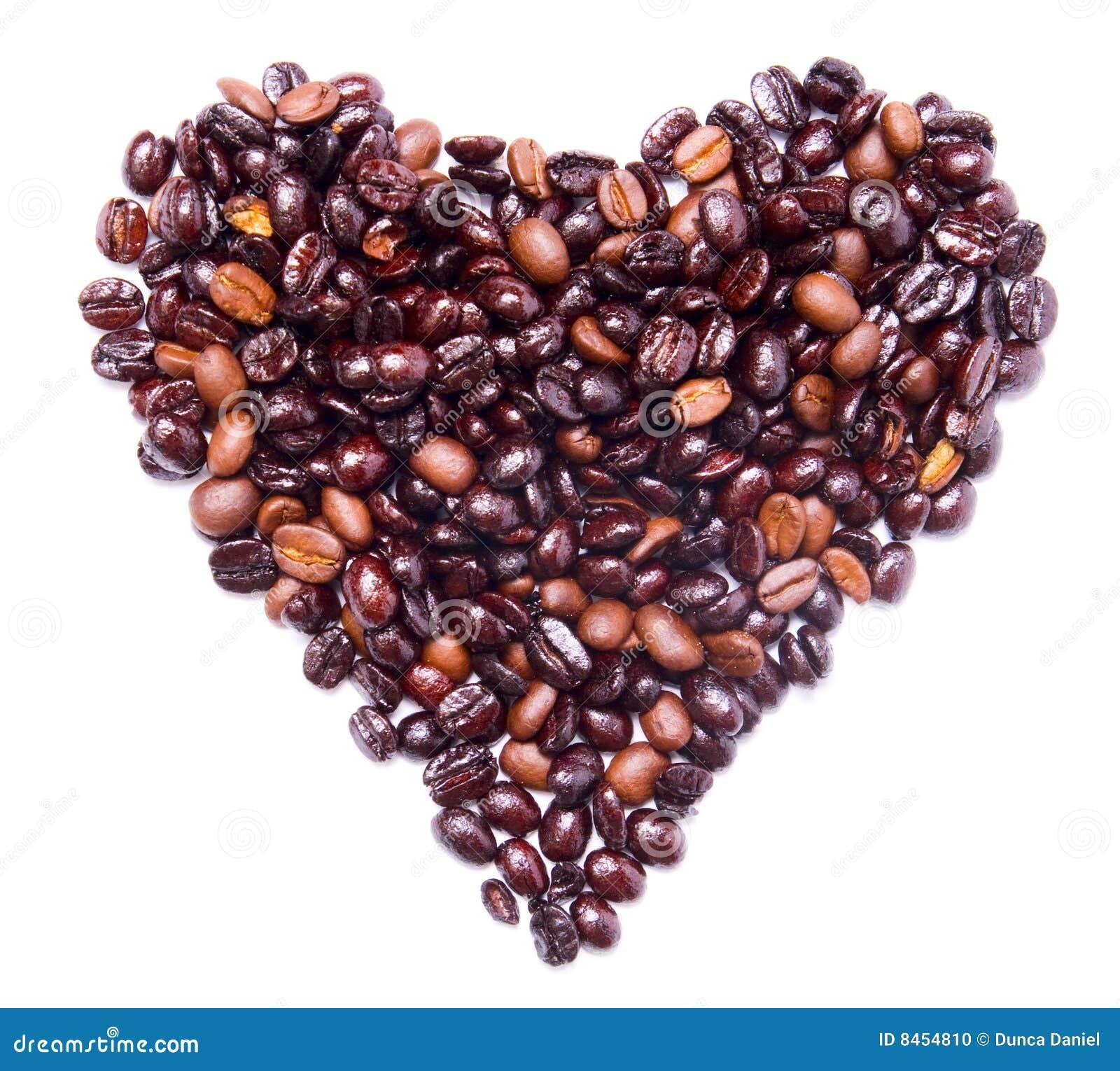 Förälskelse för hjärta för hälsa för bönakaffebegrepp