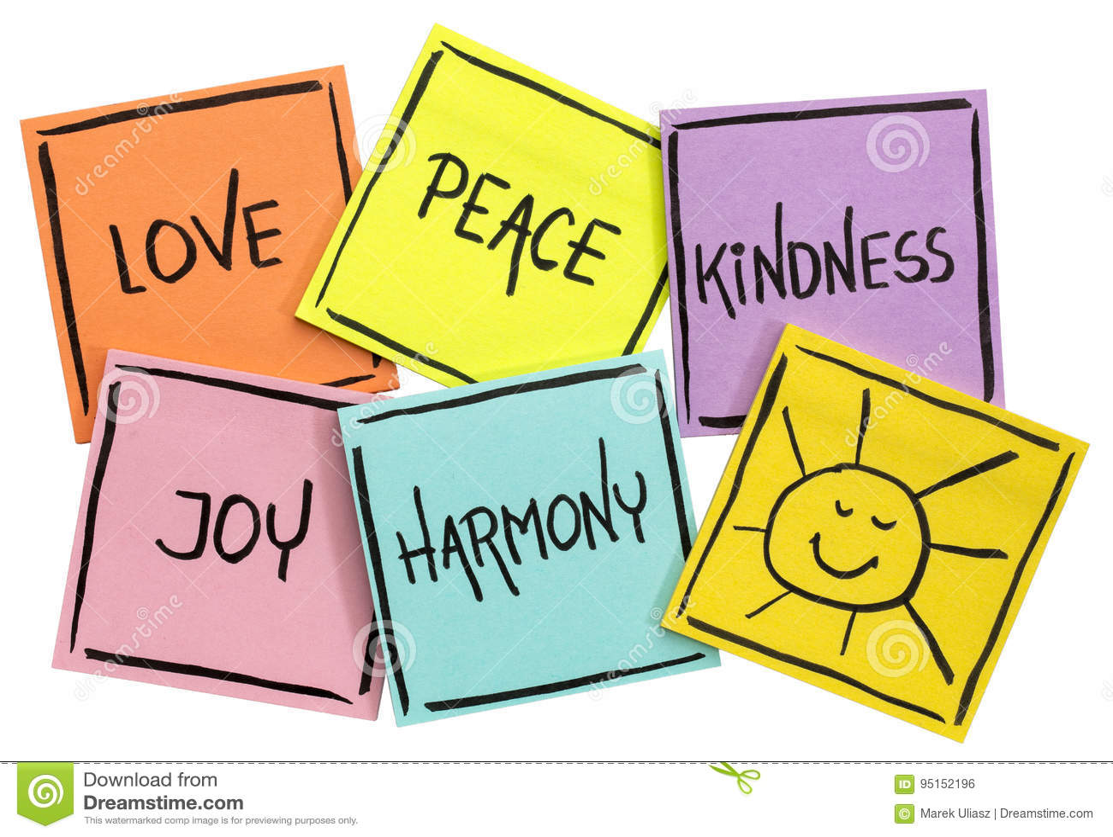 Förälskelse, fred, vänlighet, glädje och harmoni