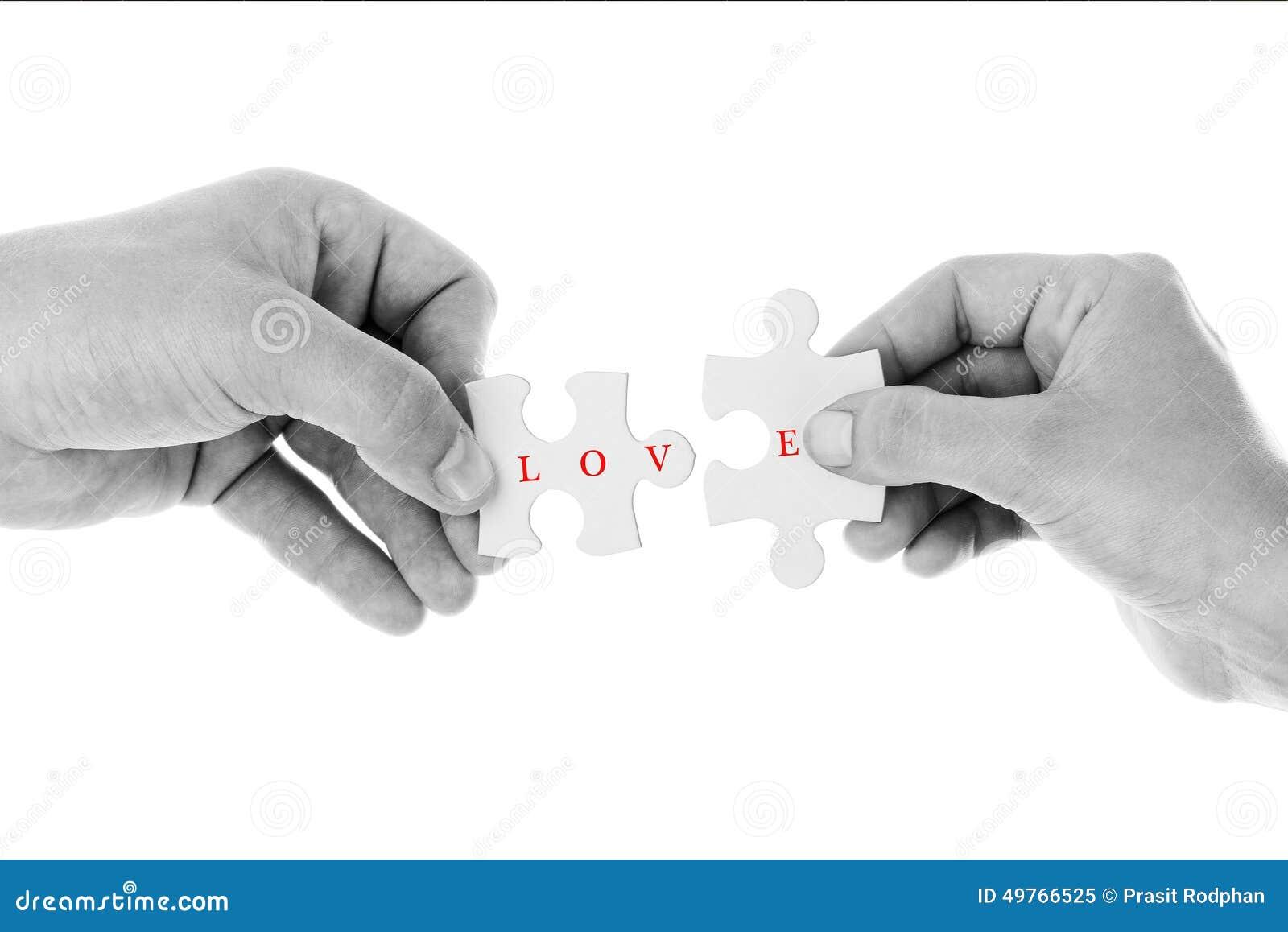 Förälskelsebegrepp - figursåg av förälskelse i svart- & vitfärg