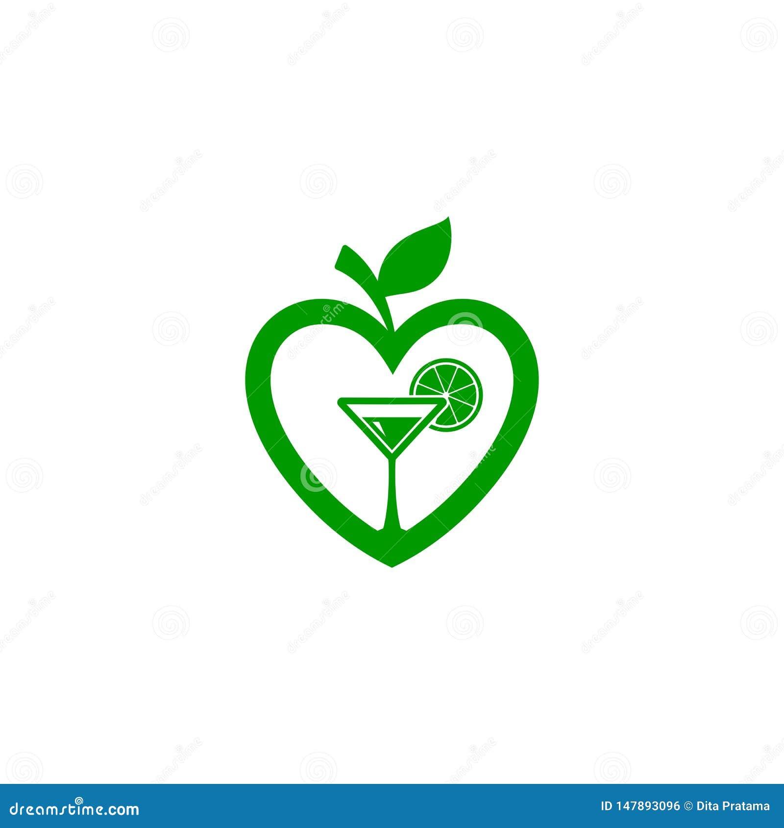 Förälskelseform av äpplefrukt, ny fruktsaftlogo