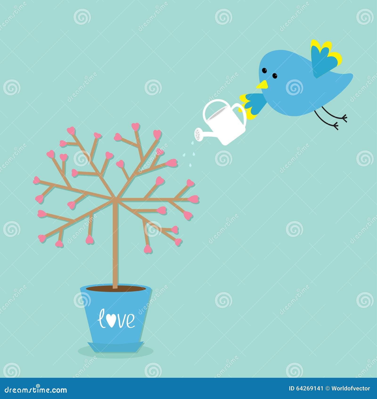Förälskelseträd i krukan Hjärtablomma Fågeln med att bevattna kan Bakgrund för ordförälskelseblått Plan design