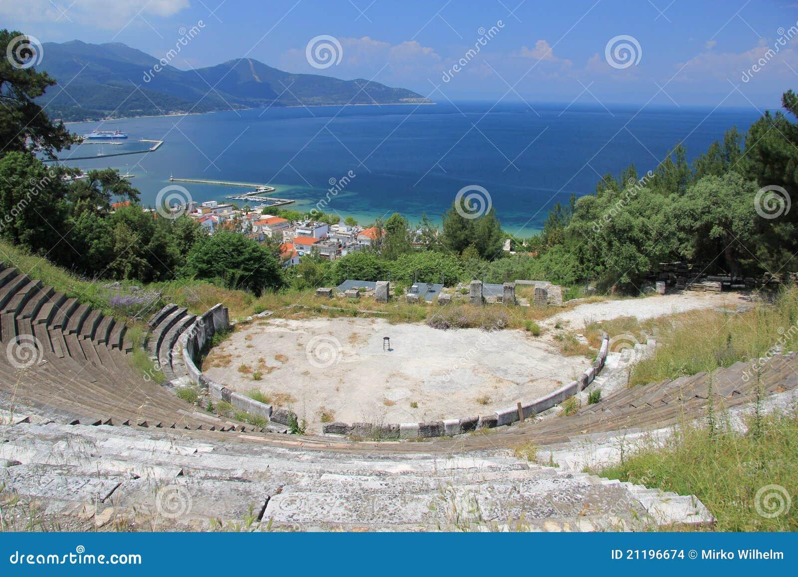 För öthassos för acropolis forntida theatre