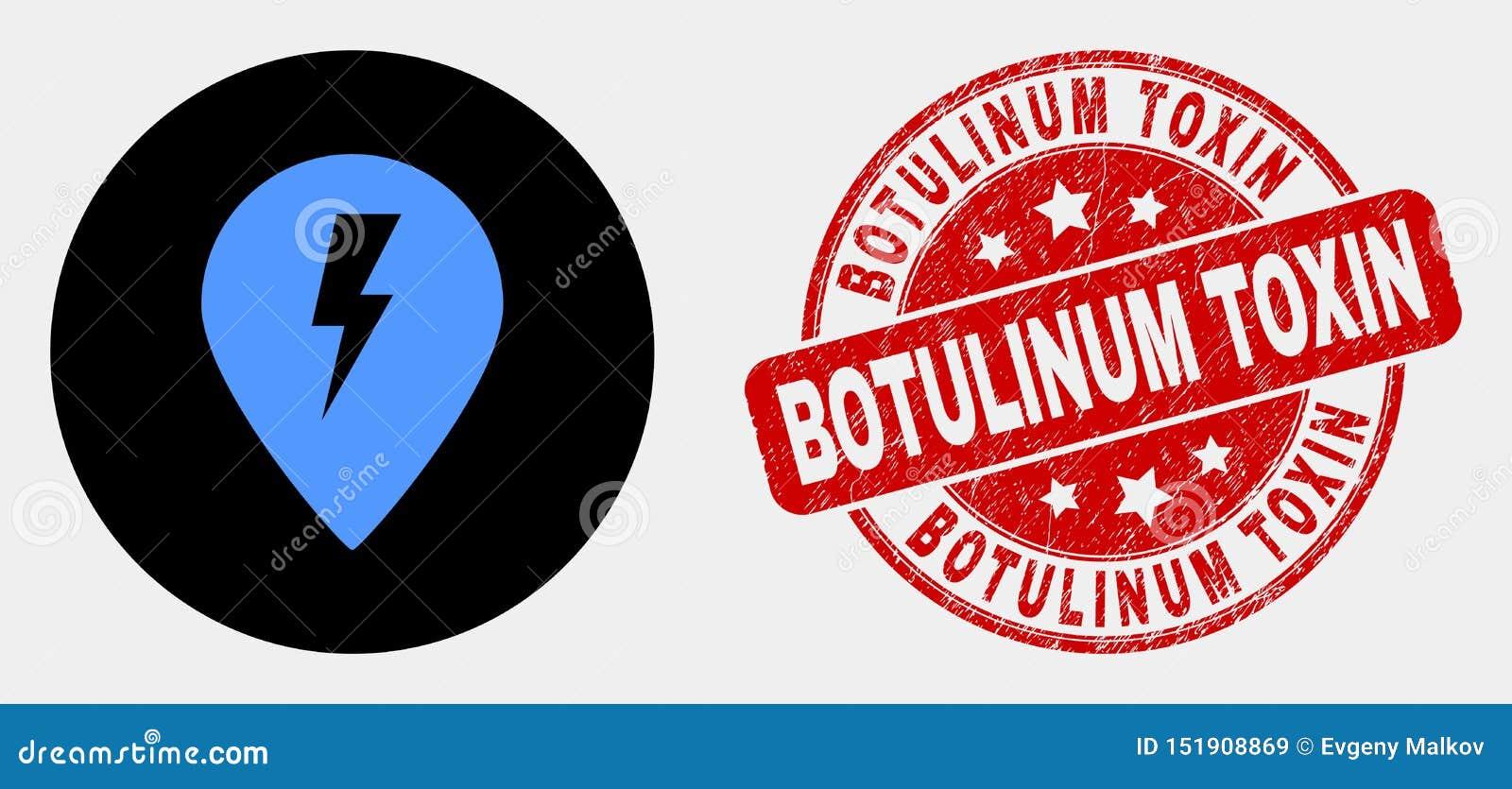 För översiktsmarkör för vektor elektrisk symbol och Botulinum toxinstämpel för Grunge
