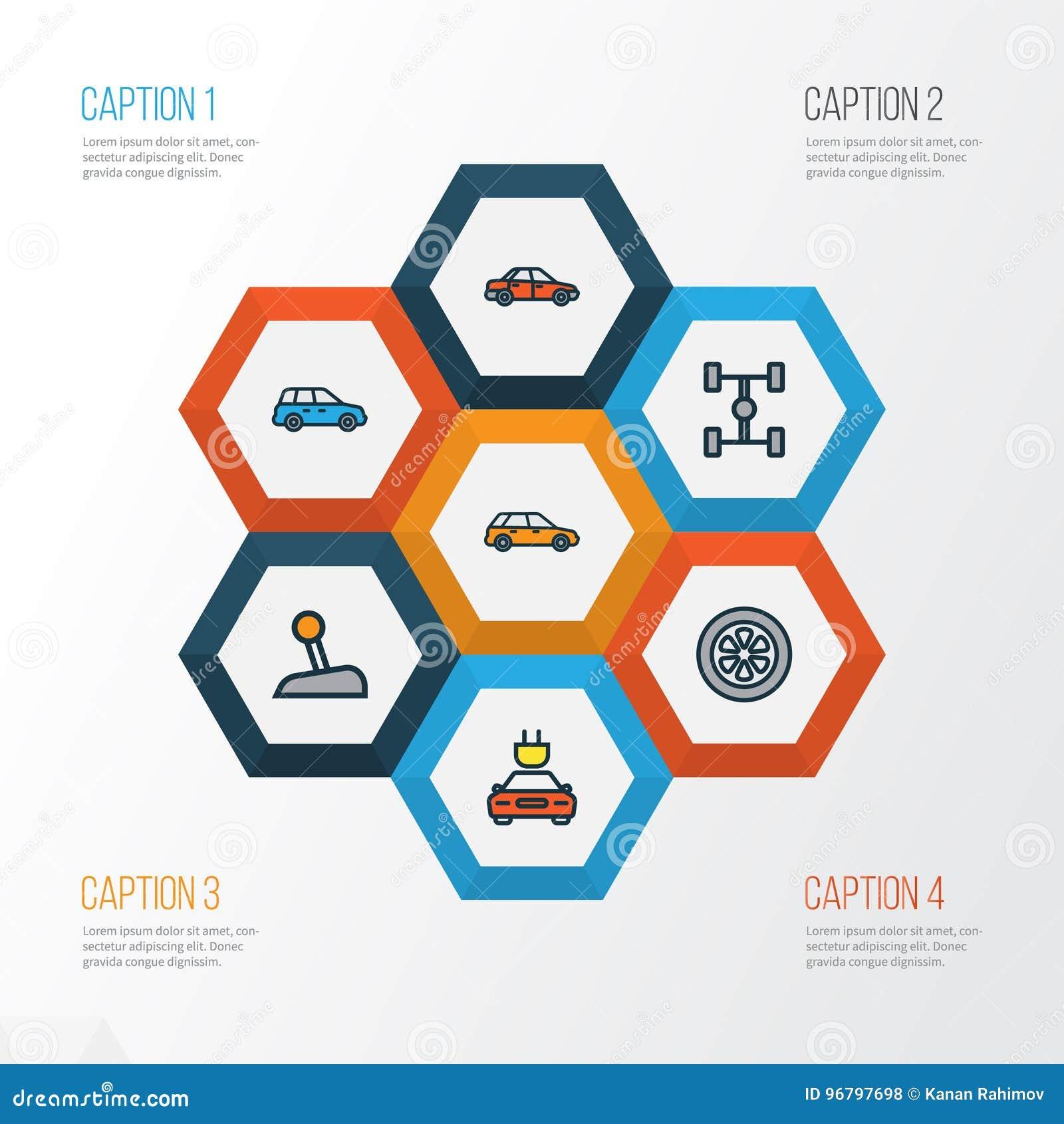 För översiktssymboler för bil färgrik uppsättning Samling av bil, elkraft, maskin och andra beståndsdelar Inkluderar också symbol