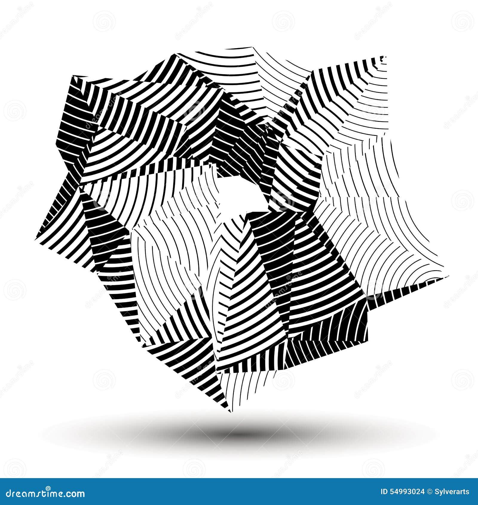 För abstrakt begreppteknologi för vektor 3D illustration, geometriskt ovanligt strimmigt objekt