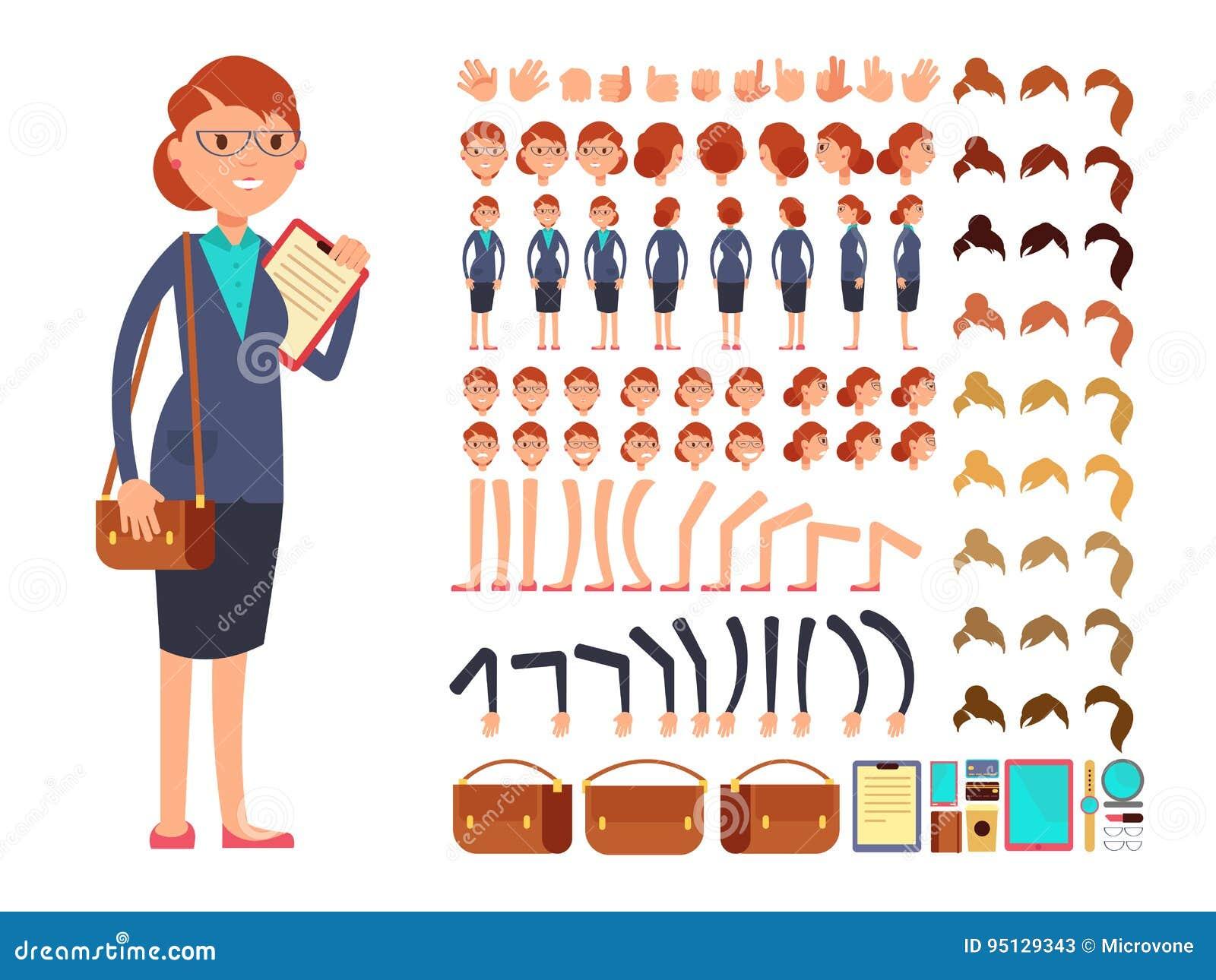 För affärskvinnavektor för tecknad film plan konstruktör för tecken med uppsättningen av kroppsdelar och olika handgester