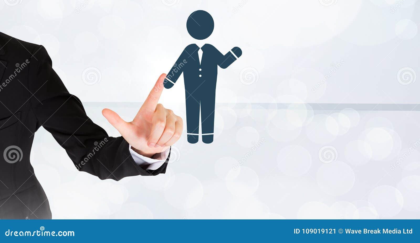 För affärsperson för hand rörande vinka för symbol