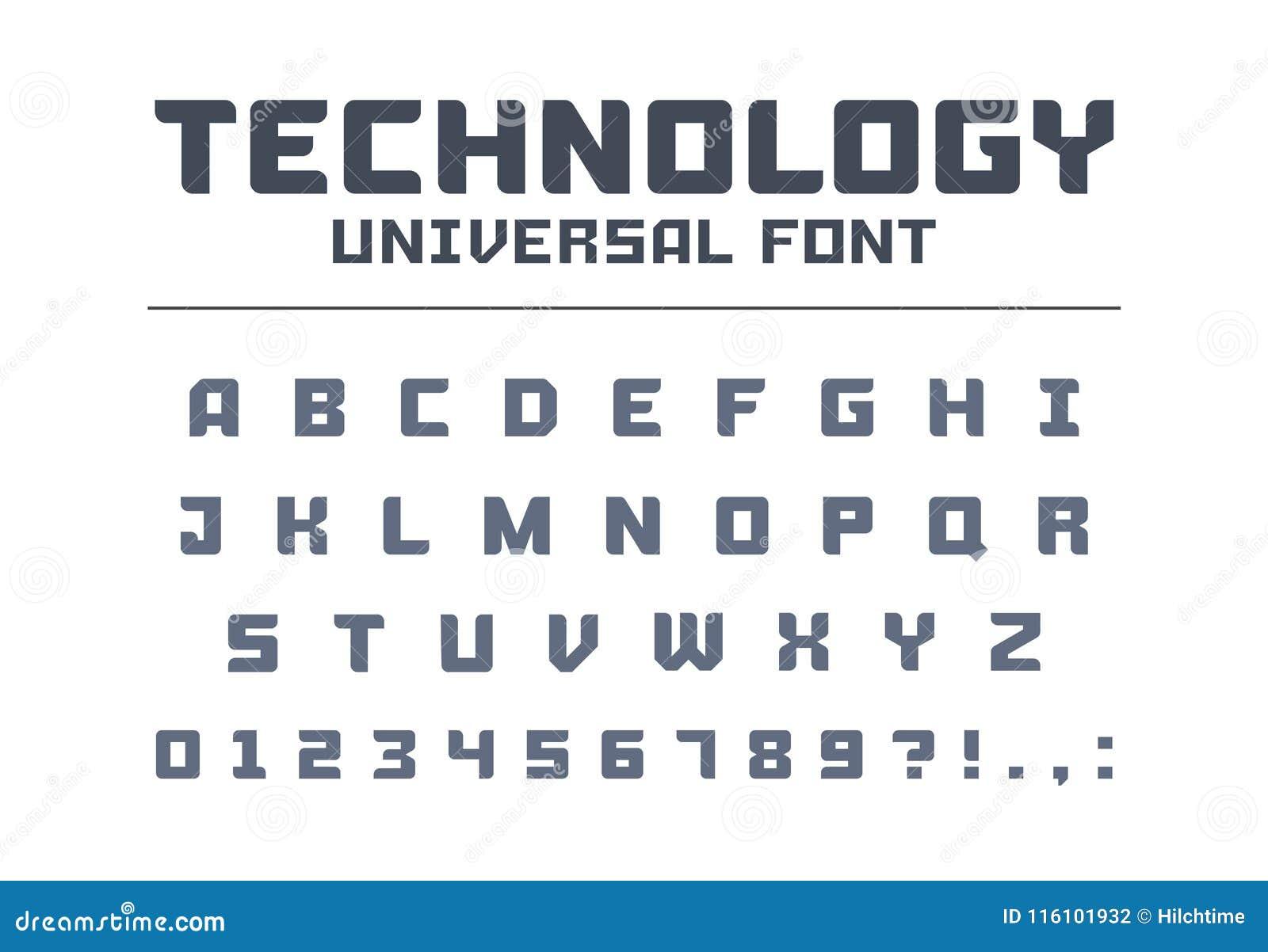 För affischstilsort för teknologi universell typ Starkt konstruktion, teknik, technoalfabet