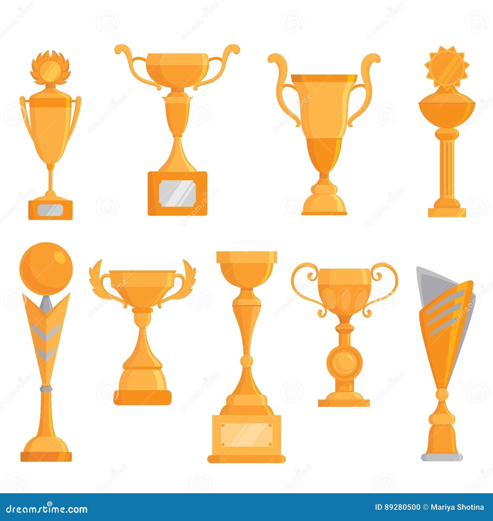 För bägaresymbol för vektor plan guld- uppsättning i plan stil Vinnareutmärkelse guld- trofé