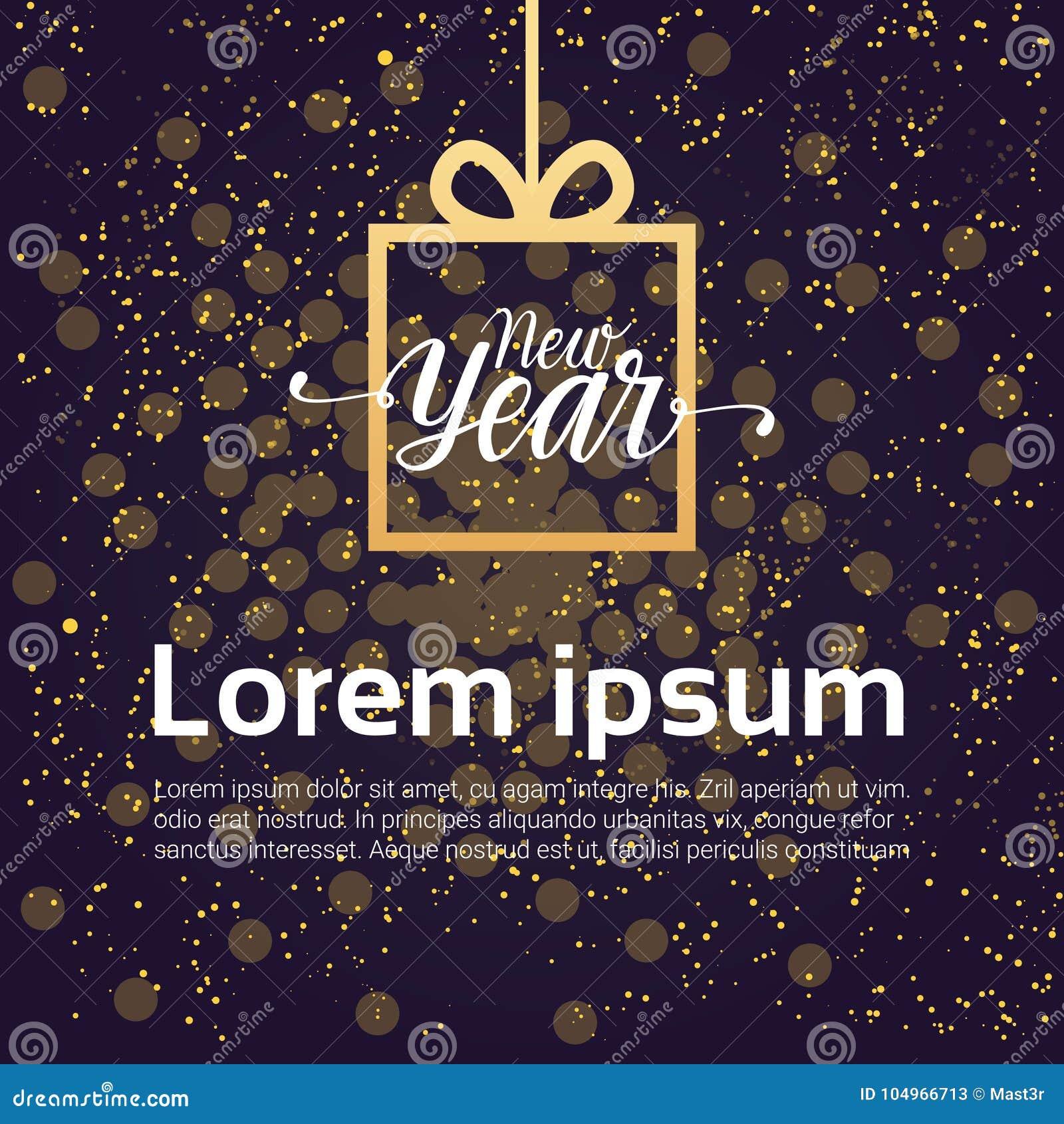 För bakgrundsgarnering för nytt år ask för gåva för design över skinande natthimmel
