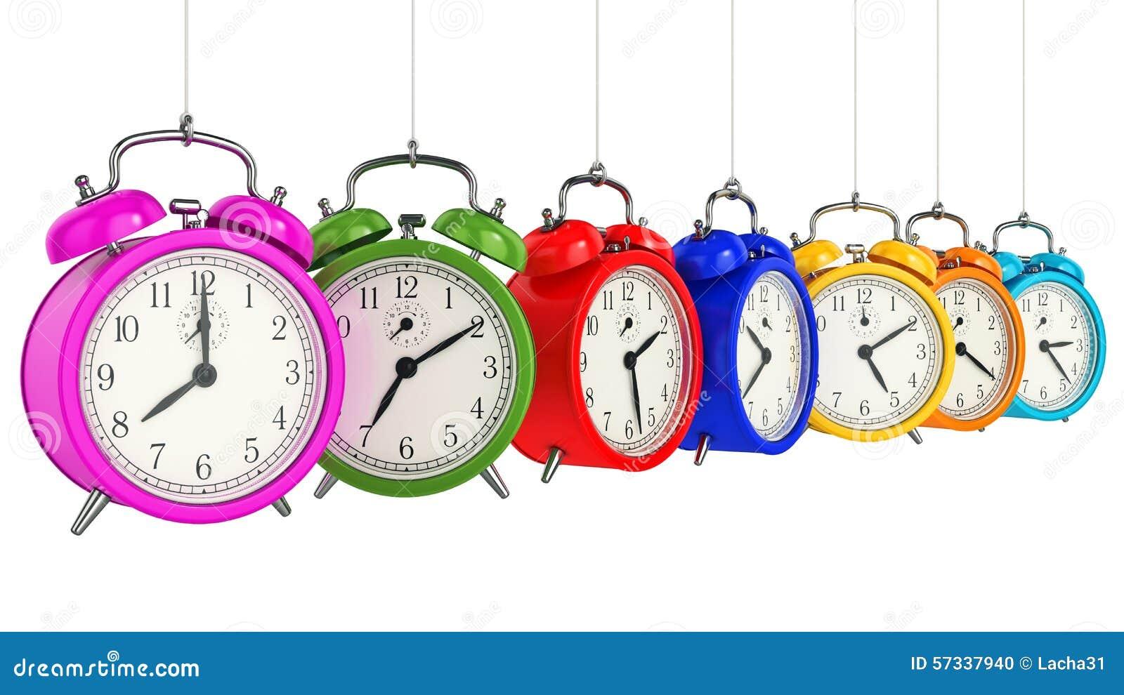 För bakgrundsklocka för alarm 3d tid för orange för begrepp för objekttid för bakgrund begrepp isolerad white