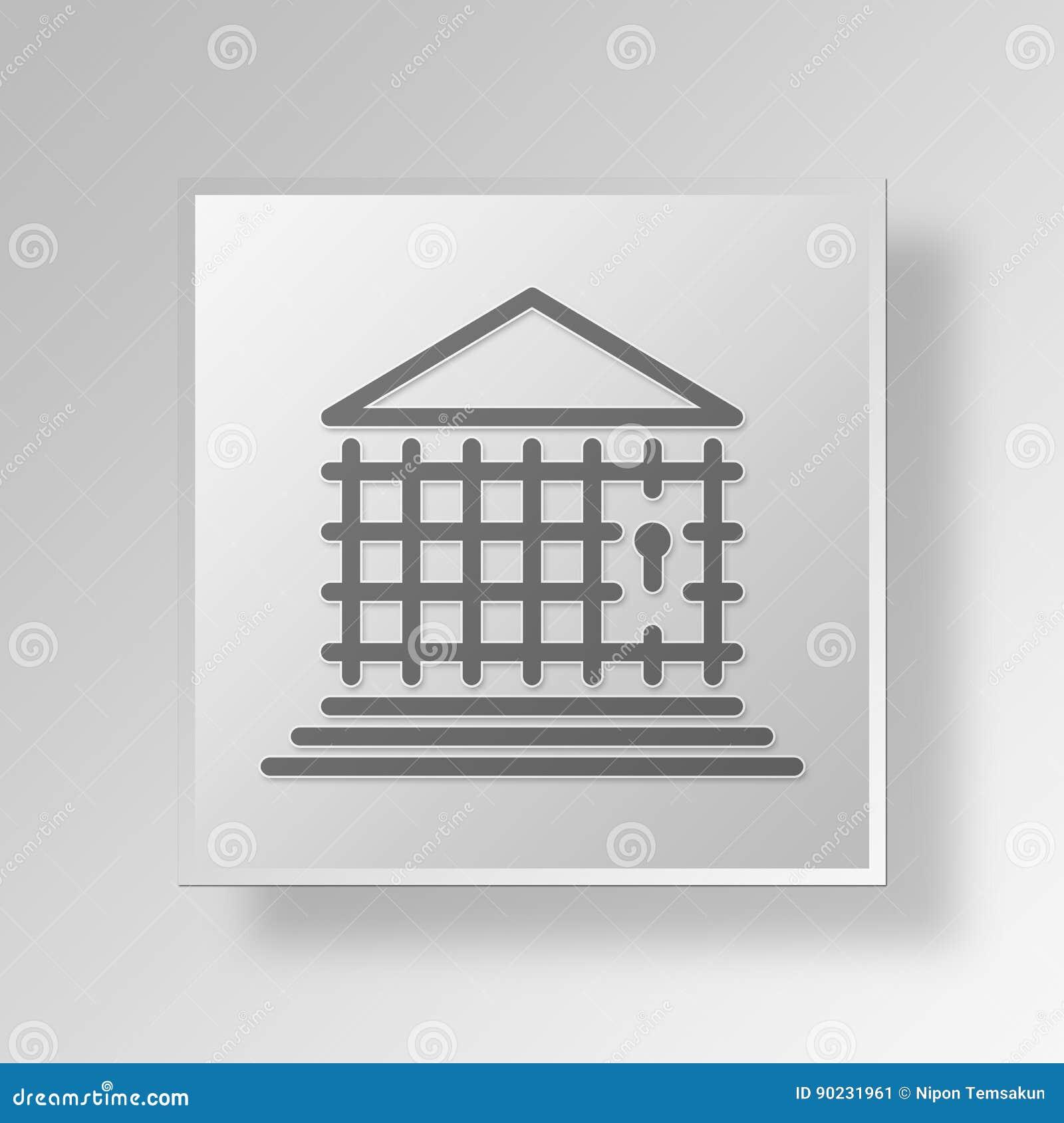 För bankknapp för arrest 3D begrepp för symbol