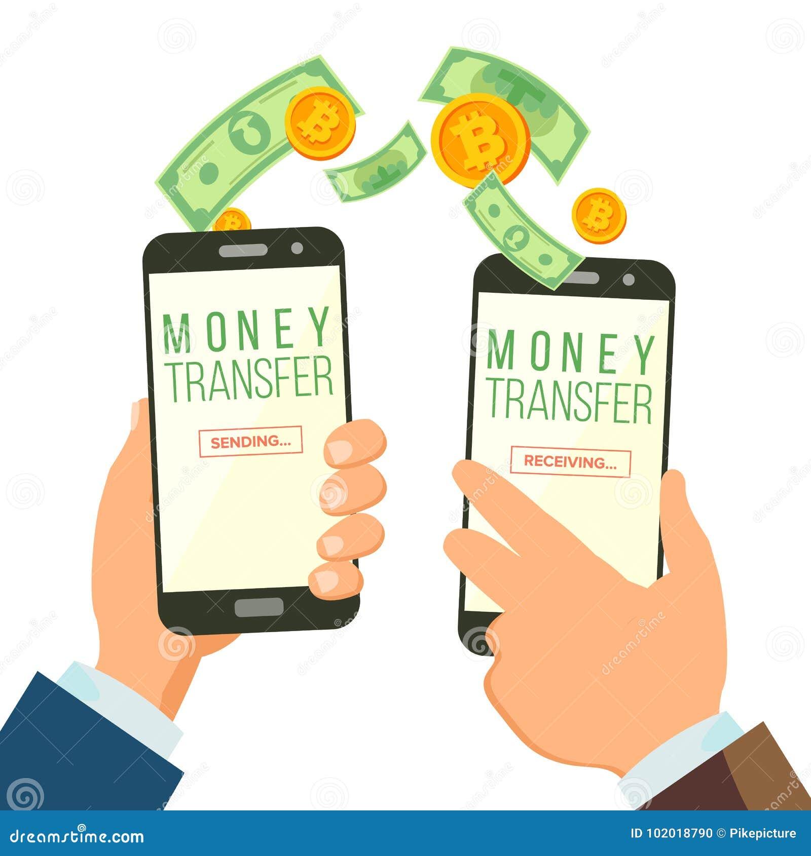 För bankrörelsebegrepp för mobila pengar överförande vektor holdingen för bakgrundsgrupphanden bemärker smartphone Dollar och bit
