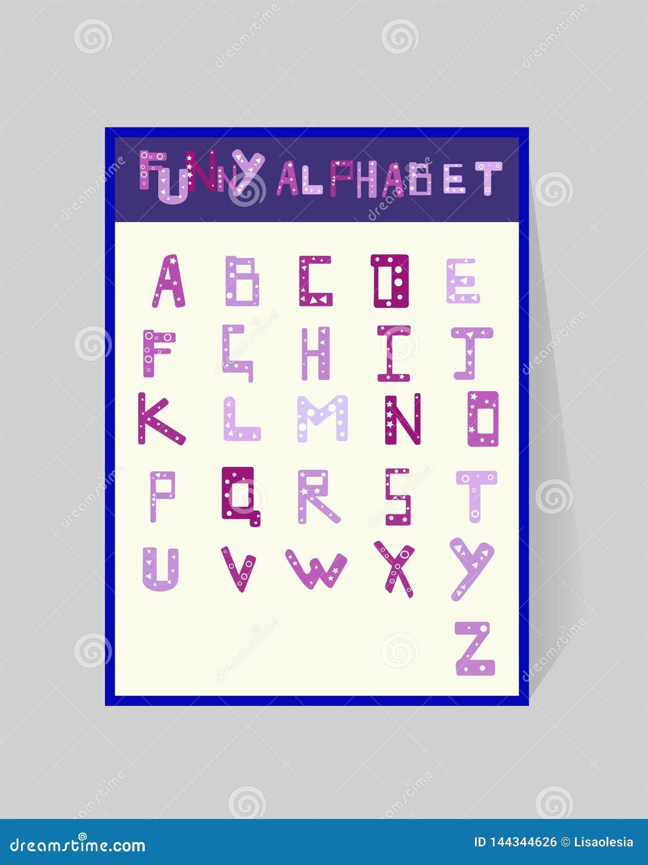 För barncrayon för alfabet c rolig bokstav ABSdesign med en geometrisk modell Cartoony violetta bokstäver för vektor på vit bakgr