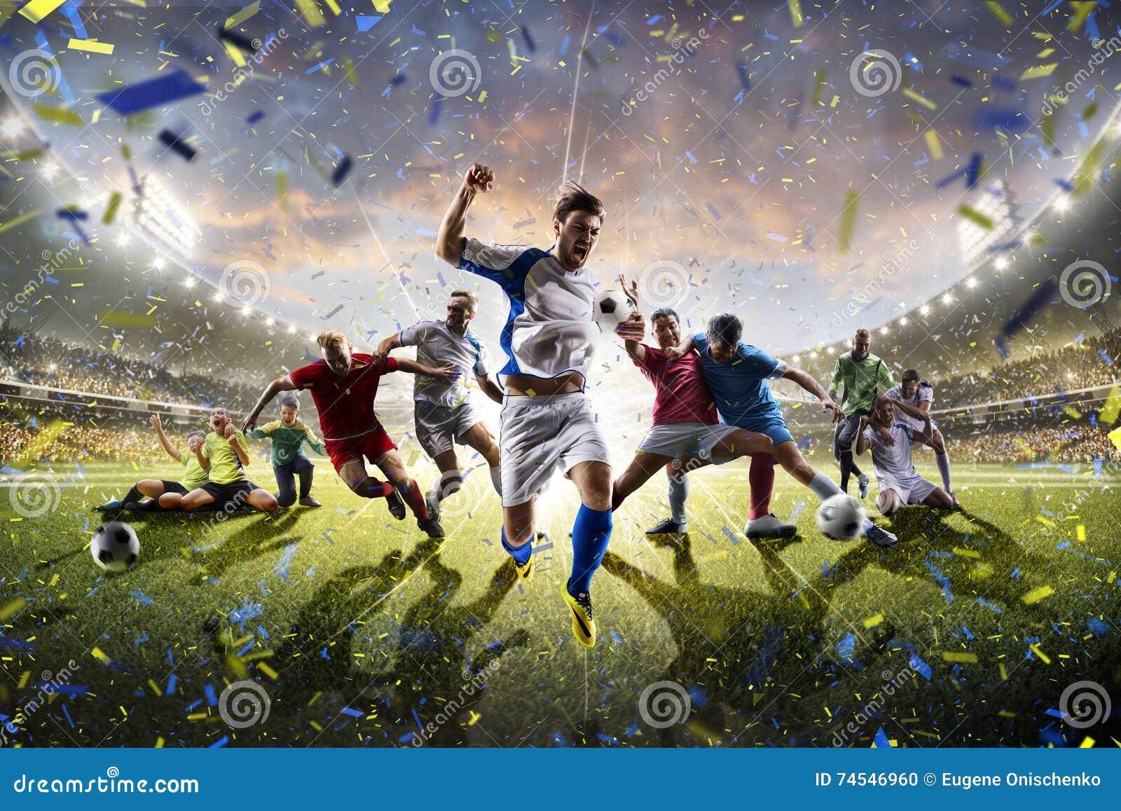 För barnfotboll för collage vuxna spelare i handling på stadionpanorama