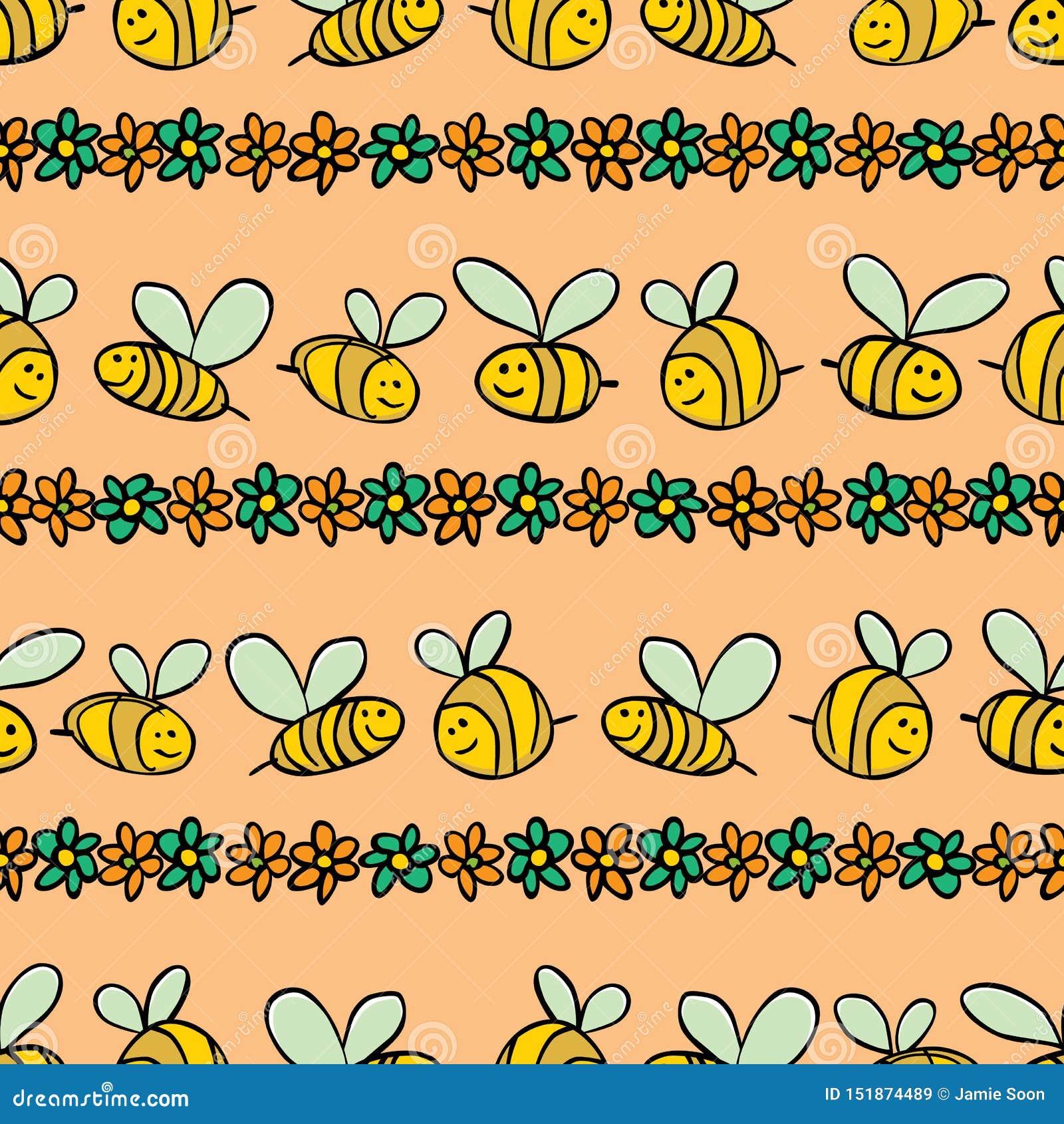 För bi- och blommaband för vektor pastellfärgad orange modell för repetition Passande för gåvasjal, textil och tapet