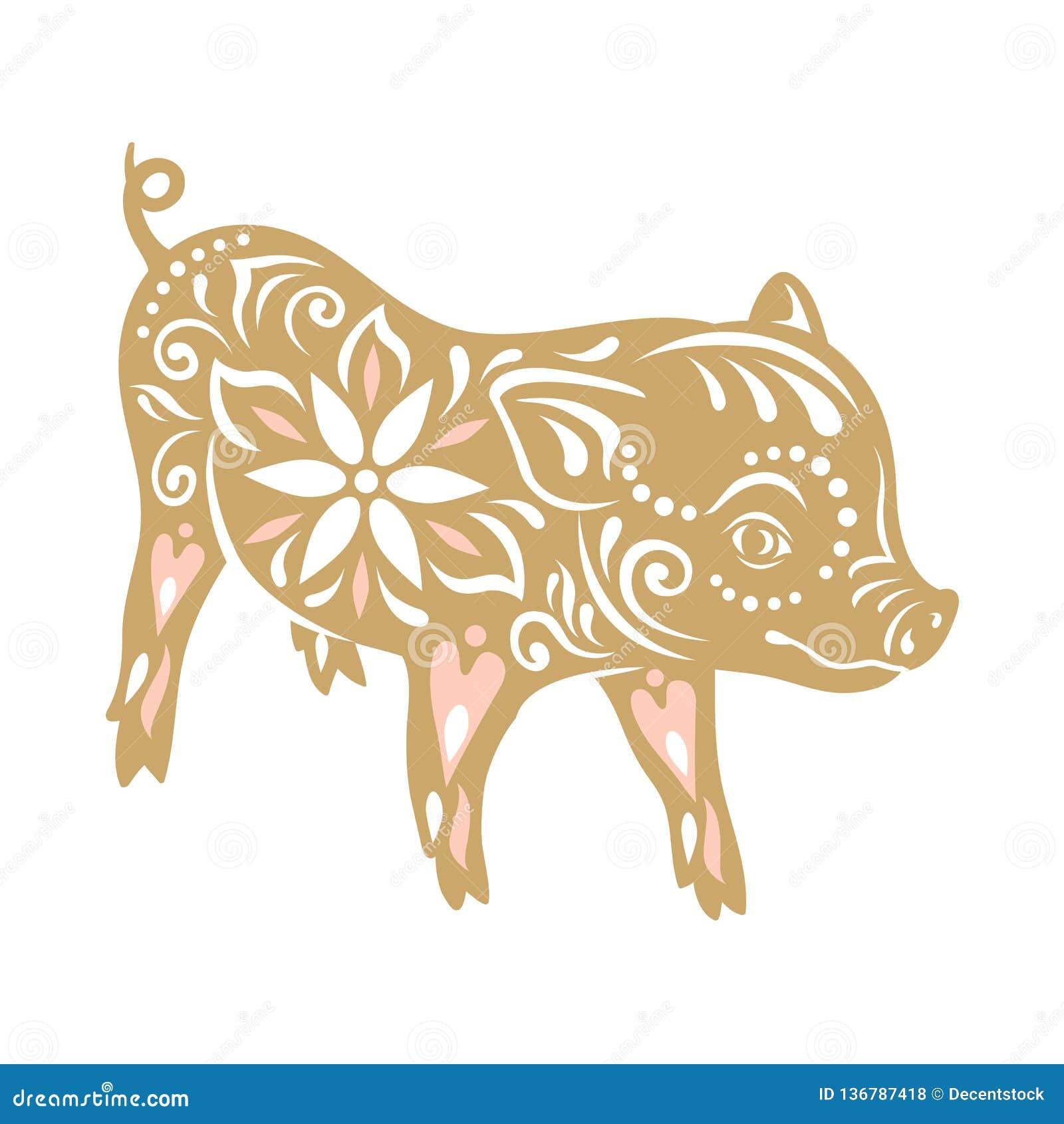 För bildpig för bakgrund svart begreppsmässigt tecken Kinesiska hälsningar för nytt år, år av svinet