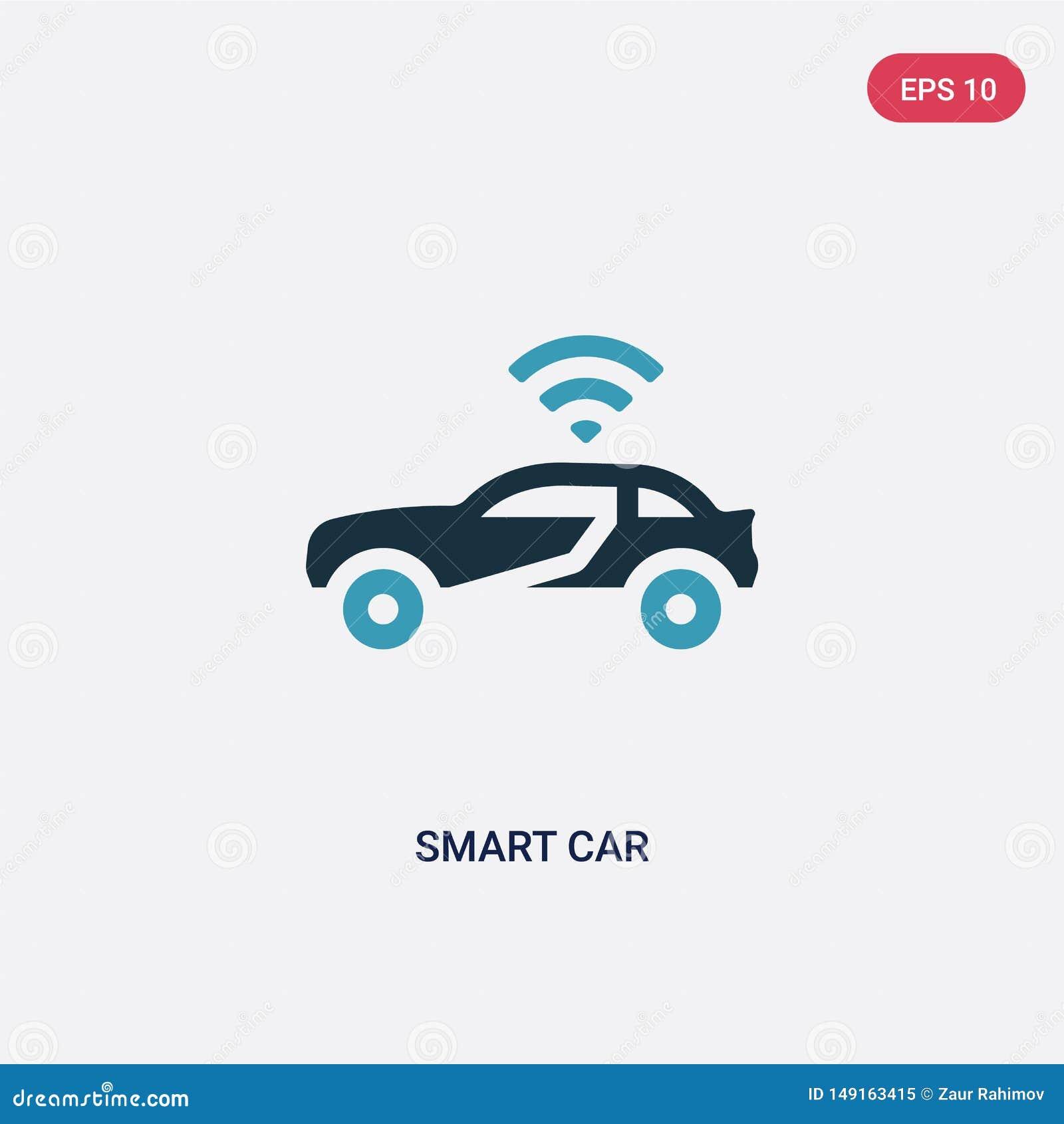 För bilvektor för två färg smart symbol från att programmera begrepp det isolerade blåa smarta symbolet för bilvektortecknet kan