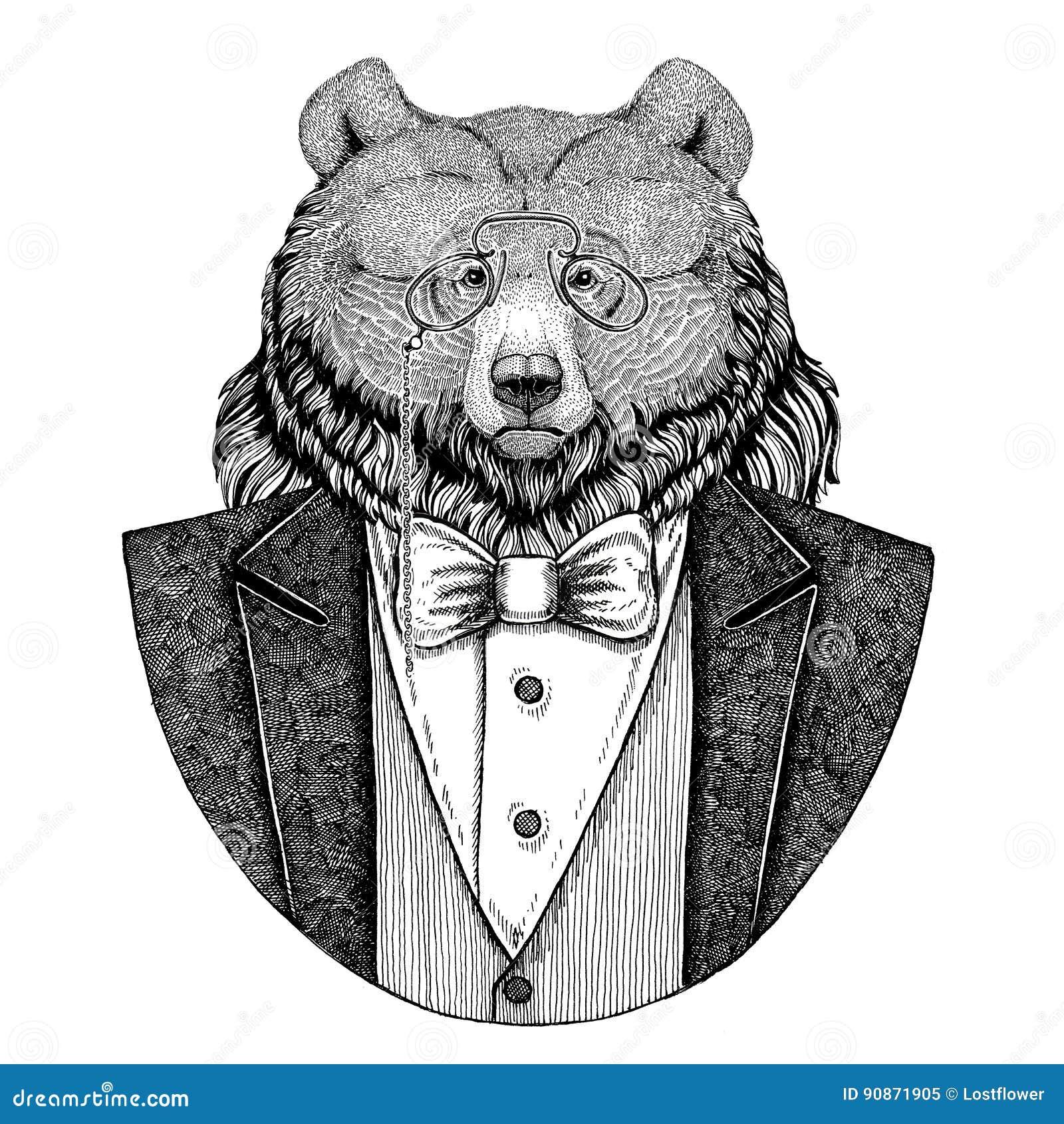 För björnHipster för grisslybjörn stor lös dragen illustration djur hand för tatueringen, emblem, emblem, logo, lapp, t-skjorta