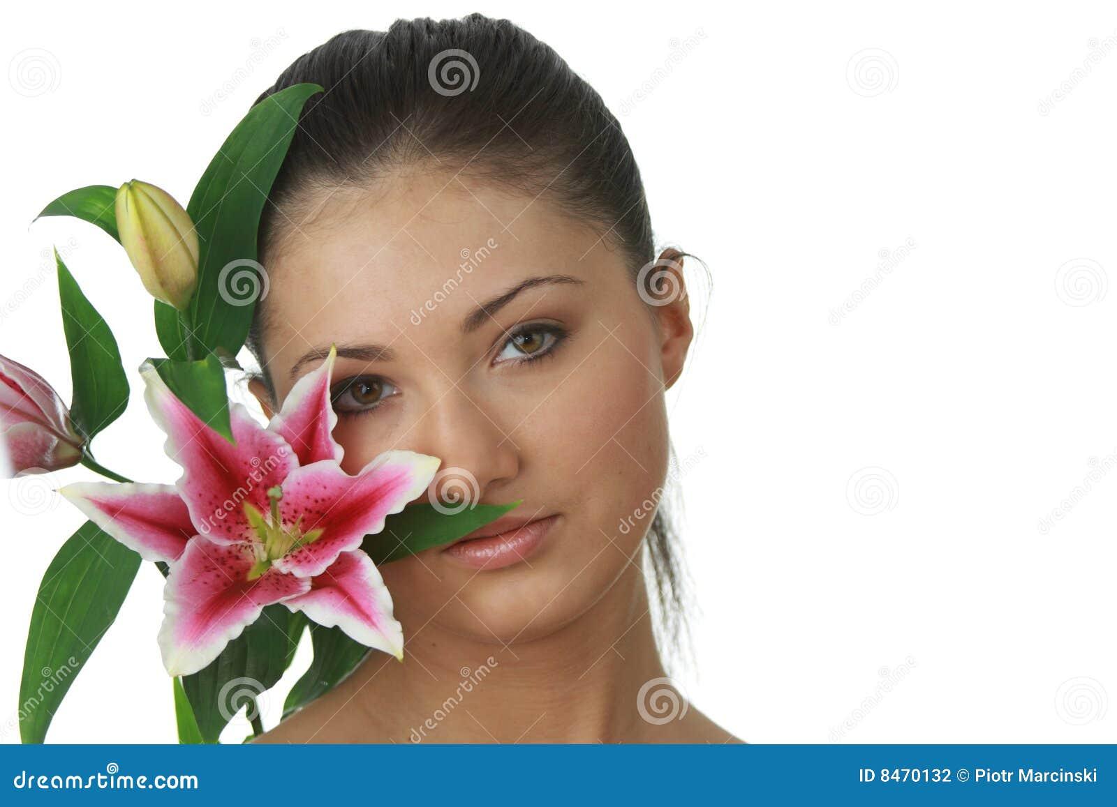 För blomma för ståendekvinna lilly barn