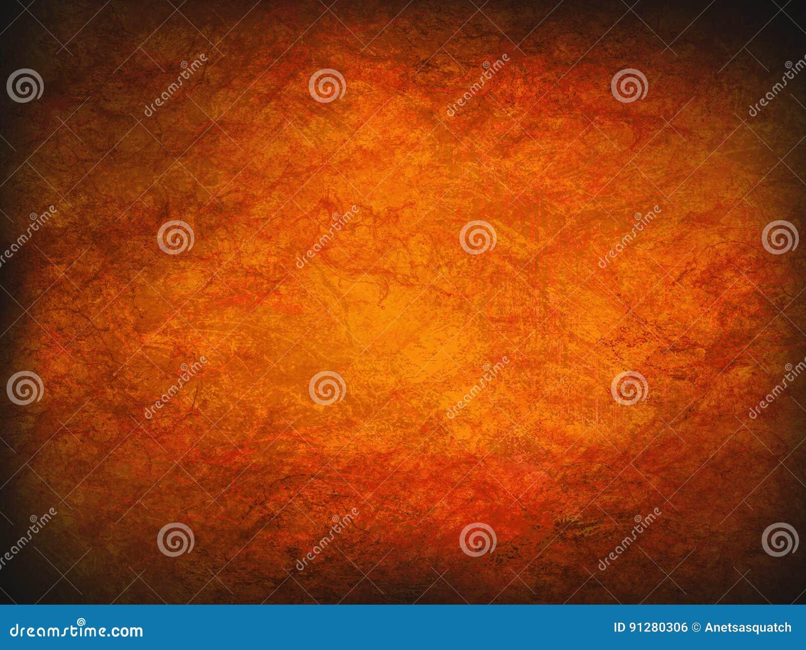 För brandgrunge för tappning abstrakt orange bakgrund med den ljusa mittstrålkastaren Modern textur med mörka hörn
