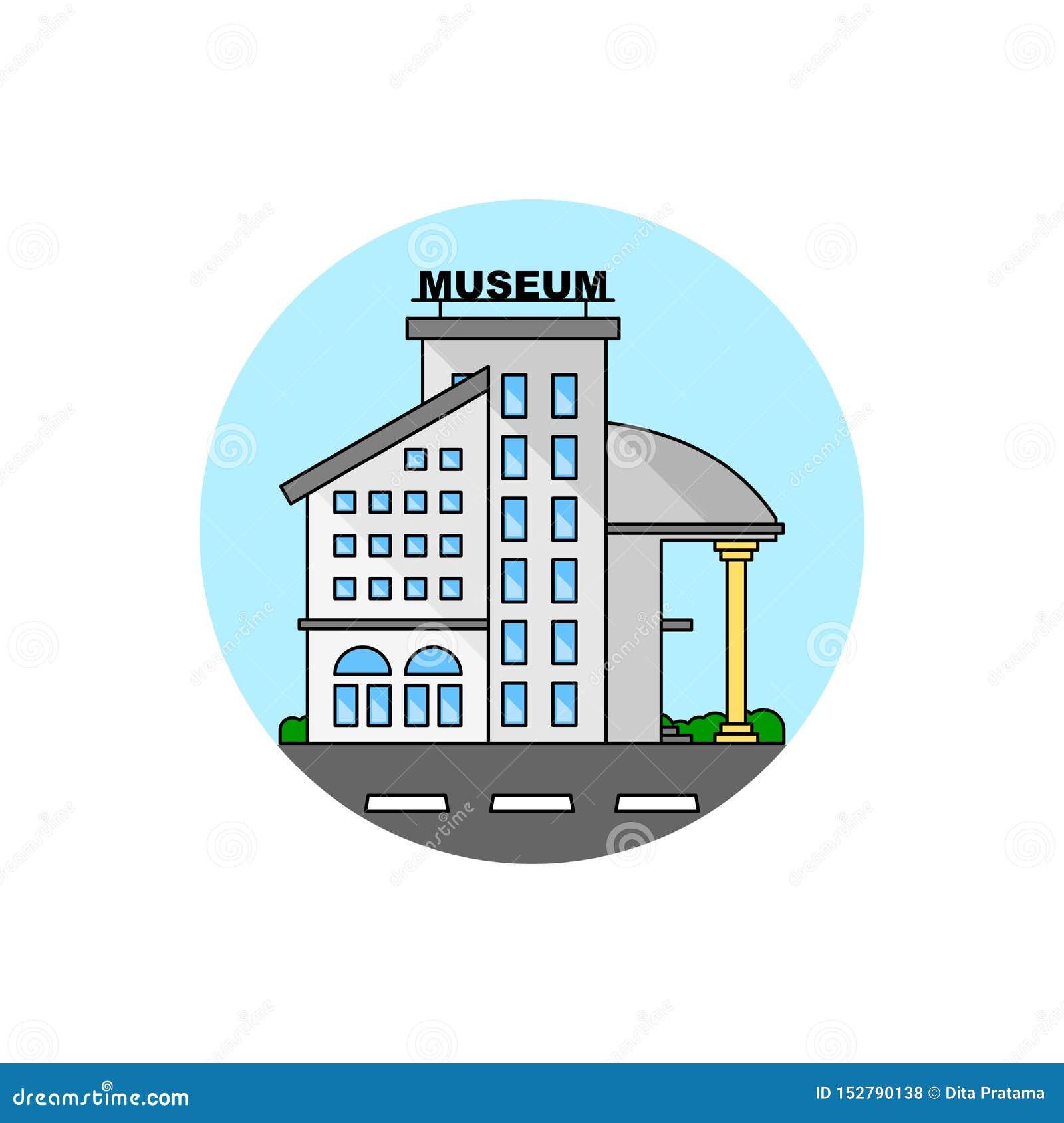 För byggnadscityscape för nationellt museum symbol