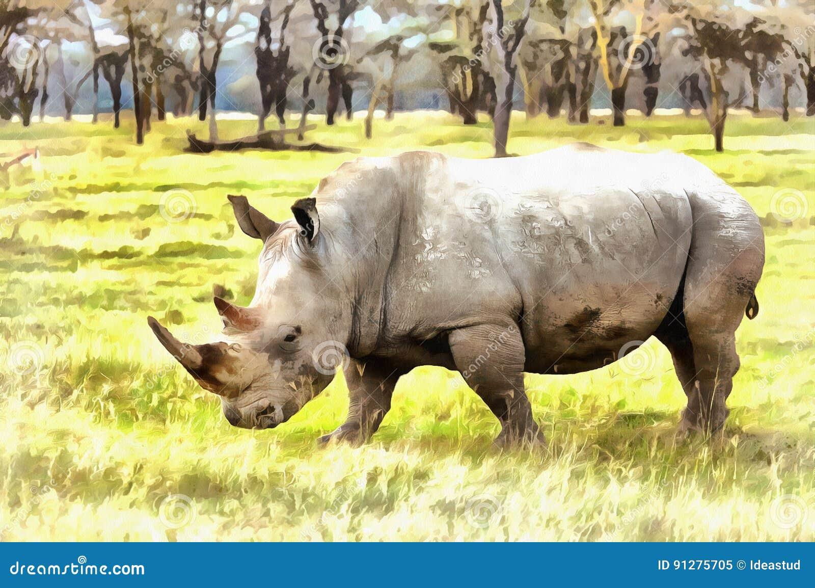 För Ceratotheriumsimum för vit noshörning färgrik målning