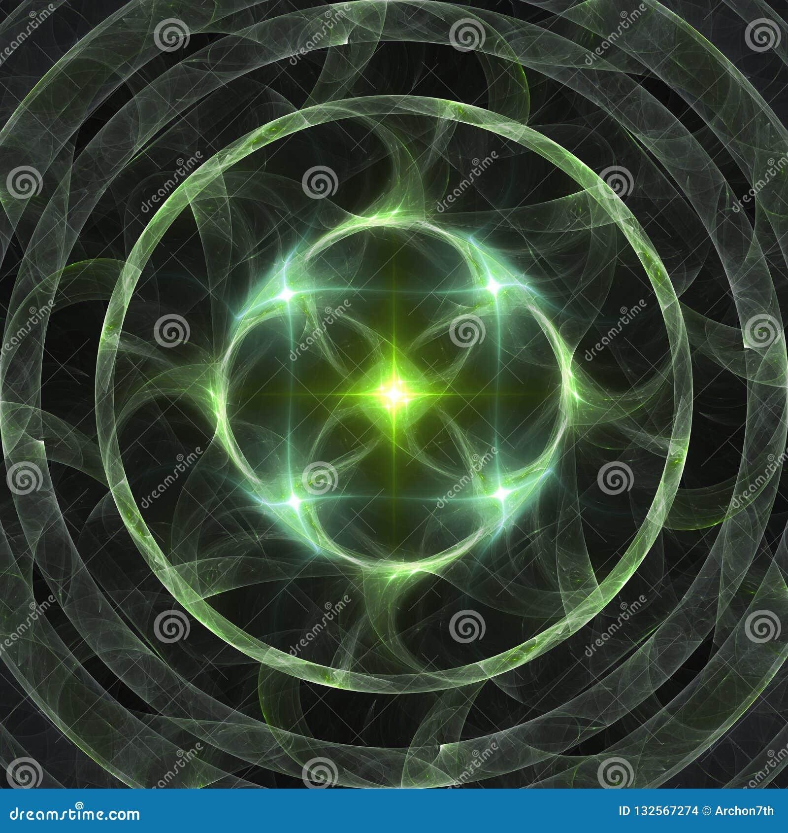För cirkelfractal för abstrakt glänsande grön stjärna brinnande konst för bakgrund för baner eller för tryck