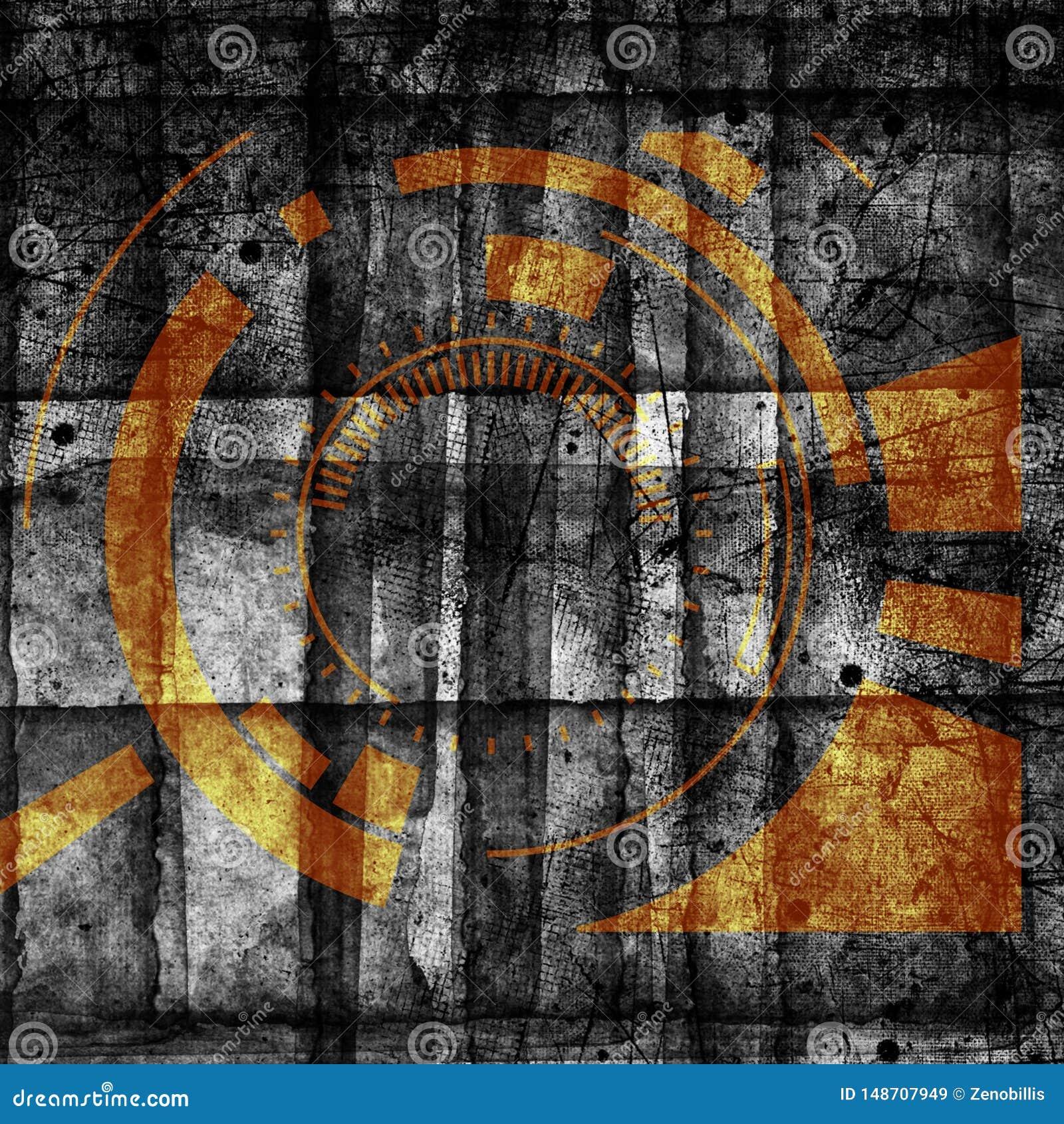 F?r cyberteknologi f?r abstrakt grunge futuristisk backgroun Stads- cyberpunkrockdesignd