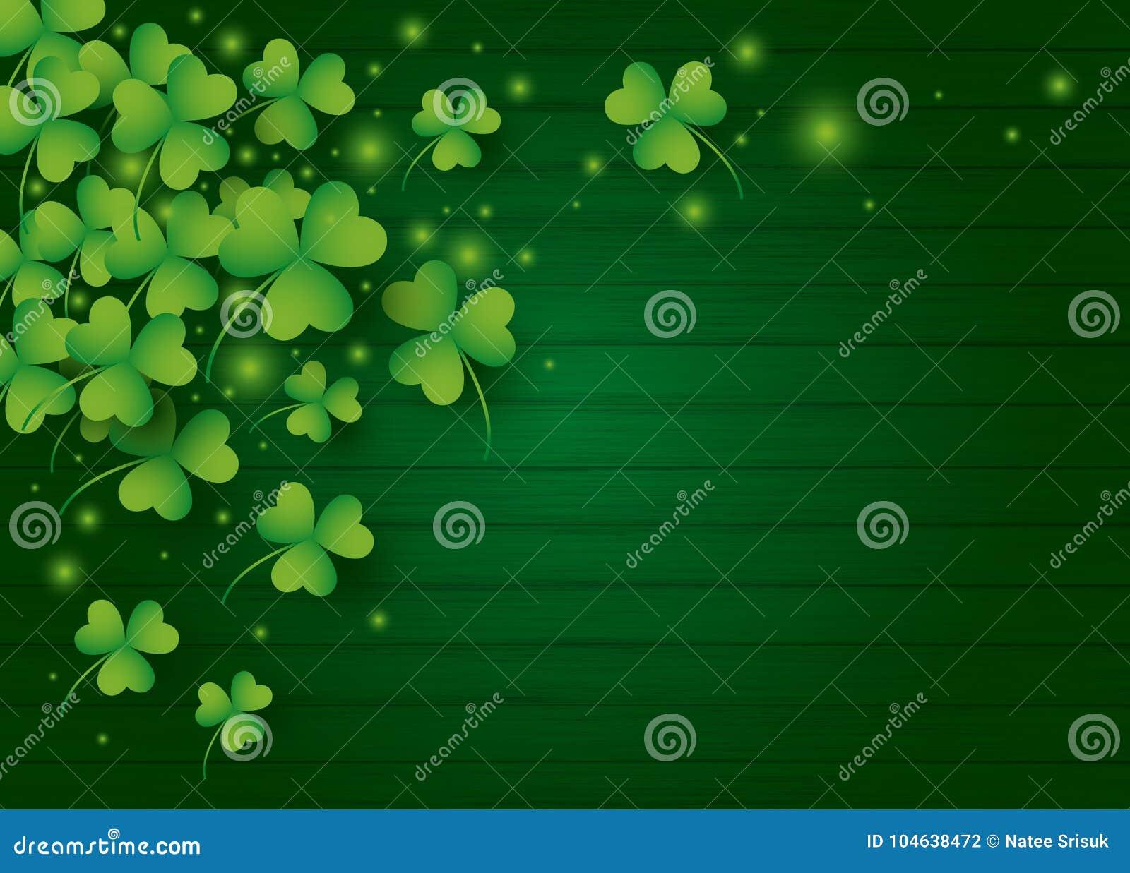 För dagbakgrund för St Patricks design av växt av släktet Trifoliumsidor
