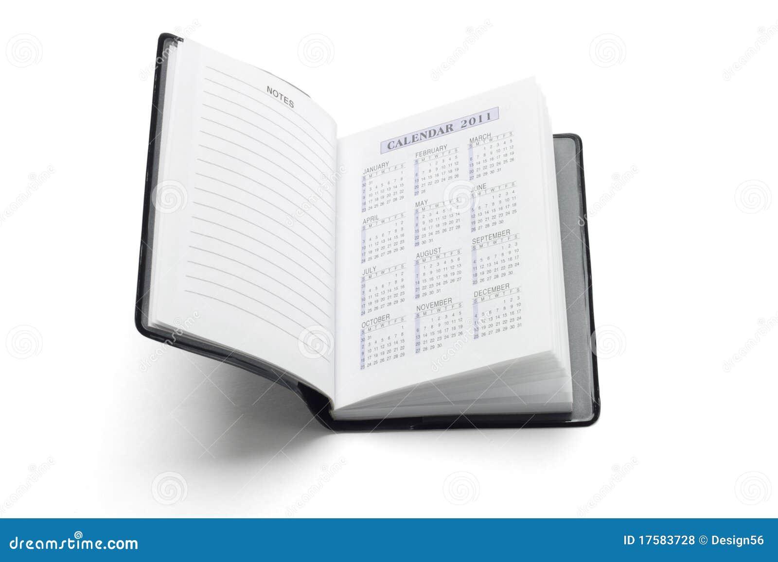 För dagbokfack för 2011 kalender uppvisning