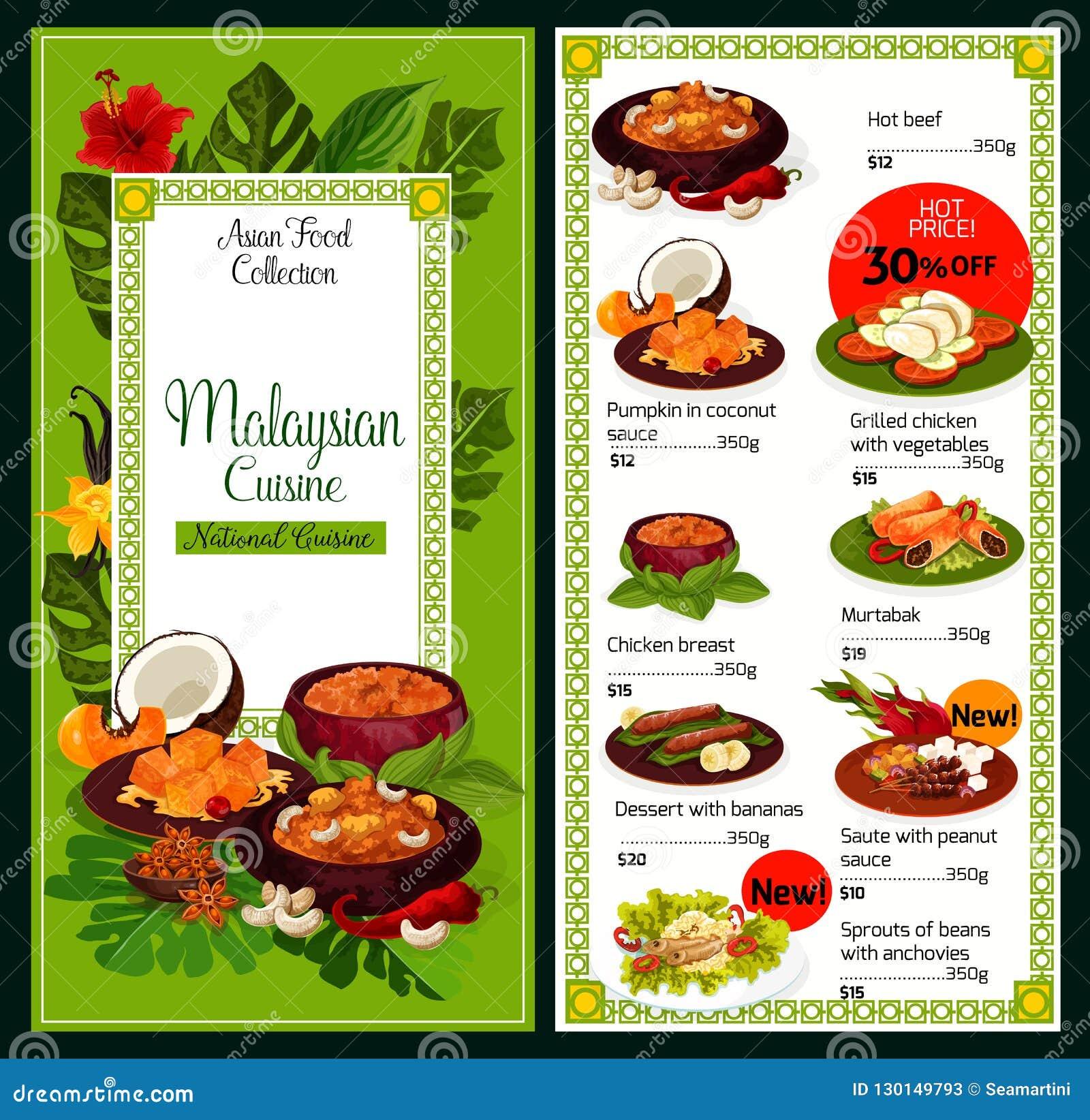 För diskmat för malaysisk kokkonst traditionell meny